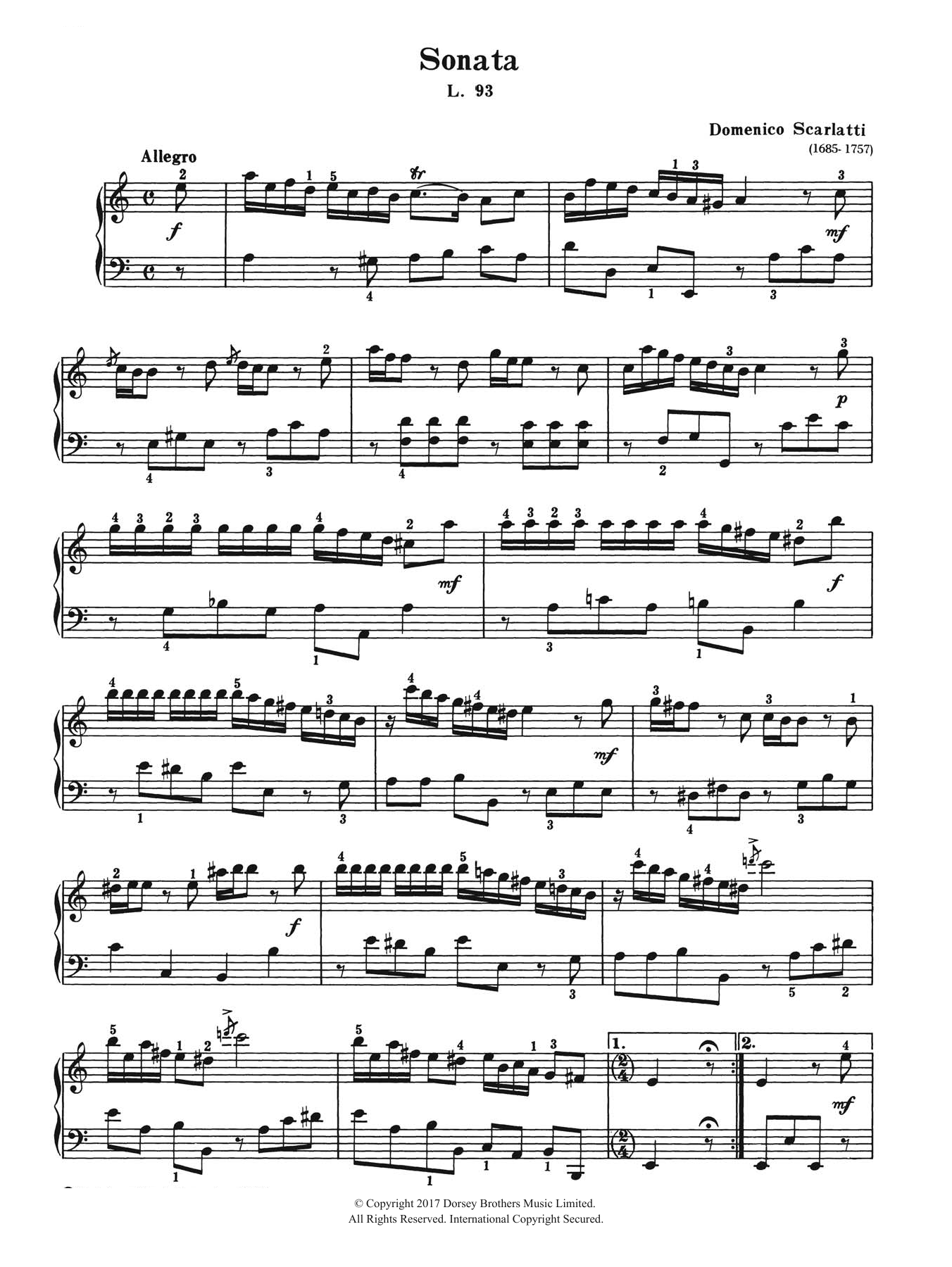 Sonata In A Minor L. 93 Sheet Music