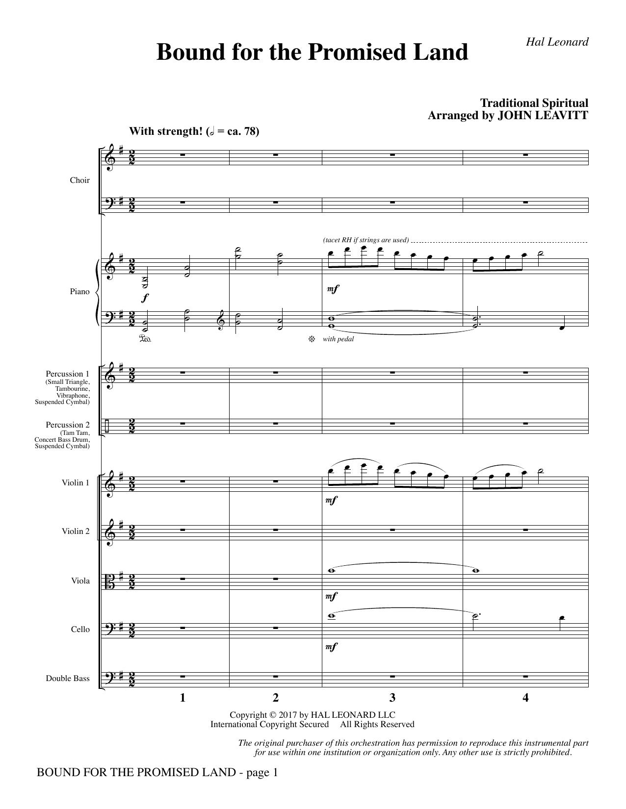 Bound for the Promised Land - Full Score (Choir Instrumental Pak)