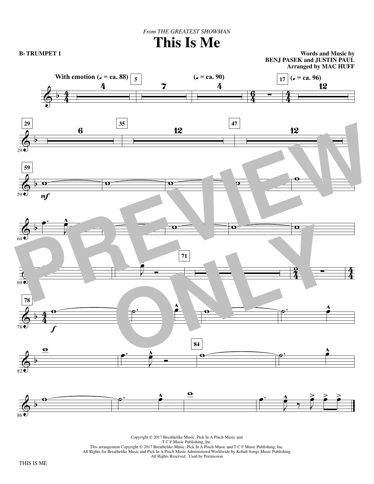 This Is Me (from The Greatest Showman) (arr. Mac Huff) - Bb Trumpet 1 (Choir Instrumental Pak)