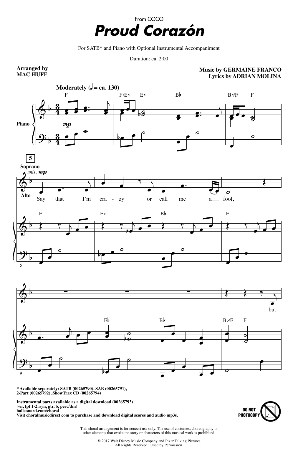 Proud Corazon Sheet Music