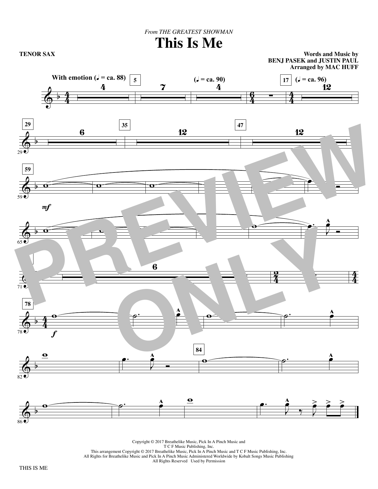 This Is Me (from The Greatest Showman) (arr. Mac Huff) - Bb Tenor Saxophone (Choir Instrumental Pak)