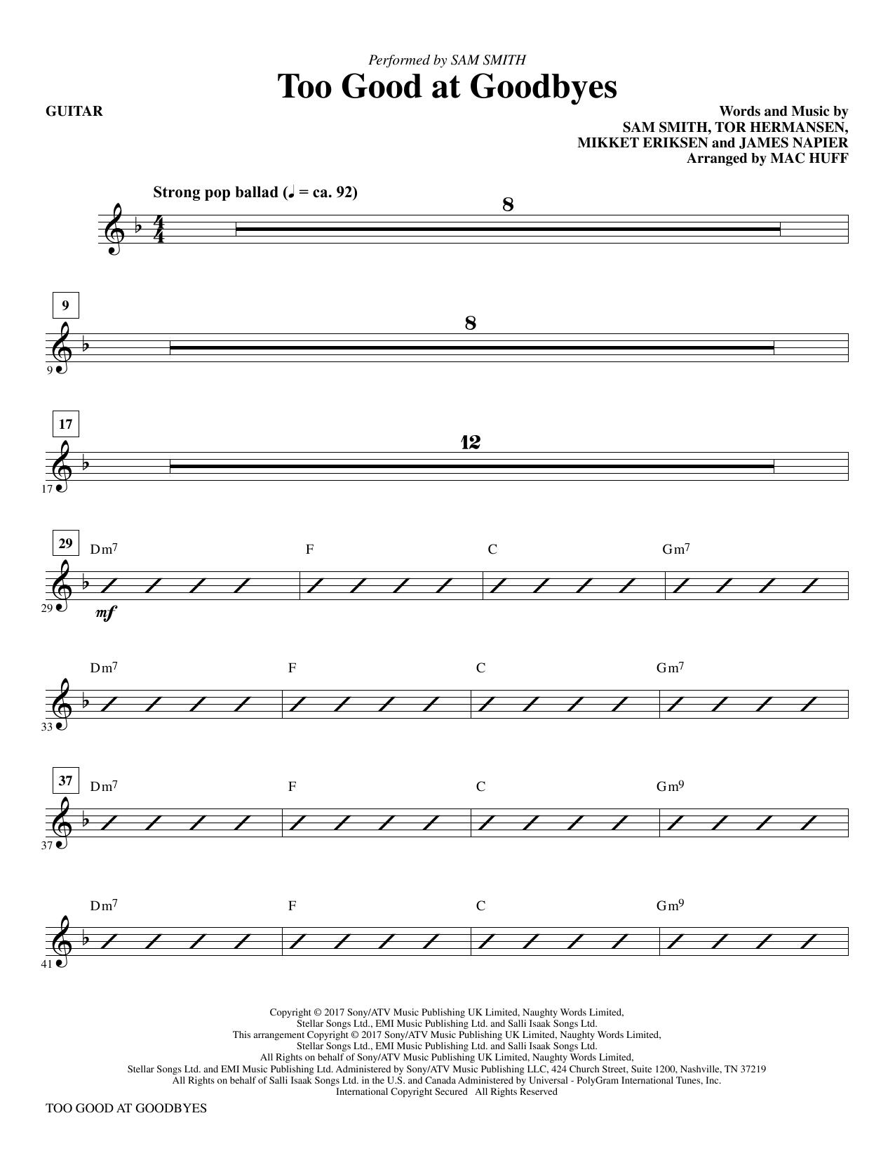 Too Good at Goodbyes - Guitar (Choir Instrumental Pak)