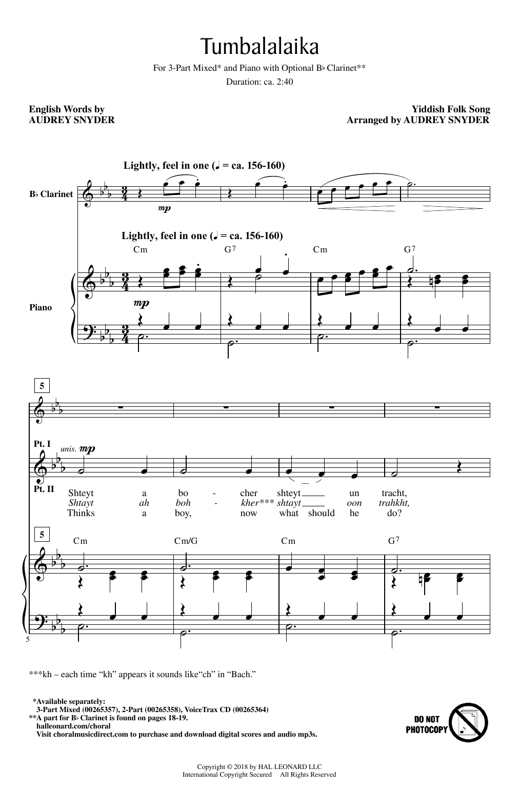 Tumbalalaika Sheet Music