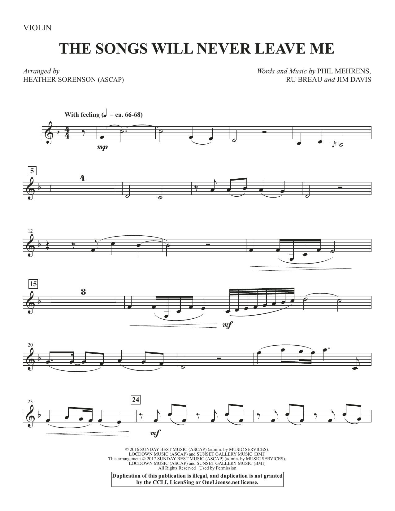 The Songs Will Never Leave Me - Violin (Choir Instrumental Pak)