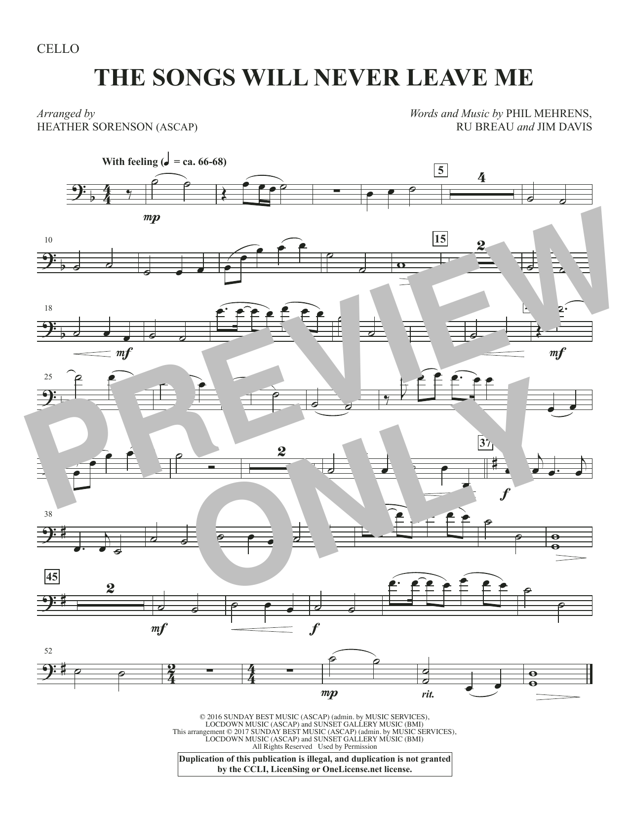 The Songs Will Never Leave Me - Cello Sheet Music