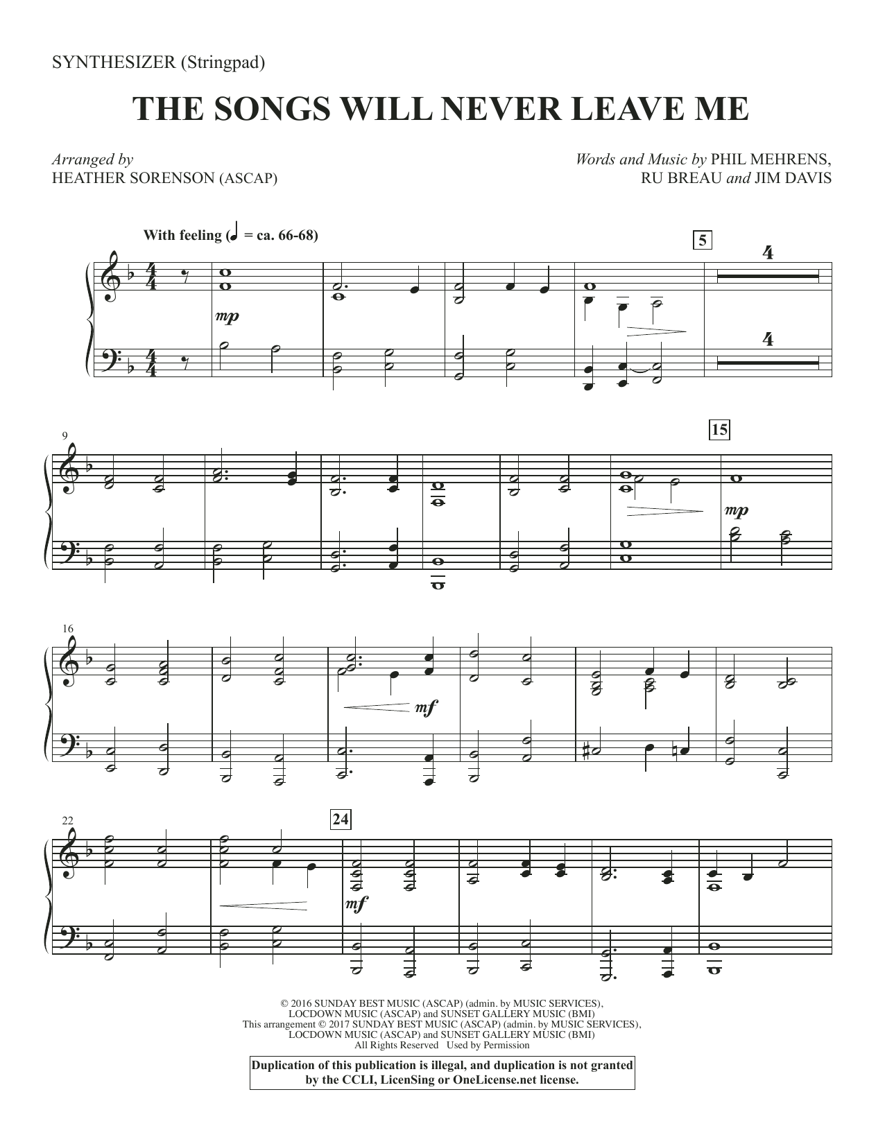 The Songs Will Never Leave Me - Synthesizer Sheet Music