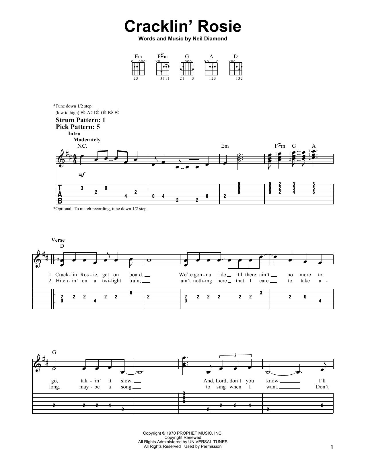 Cracklin' Rosie (Easy Guitar Tab)