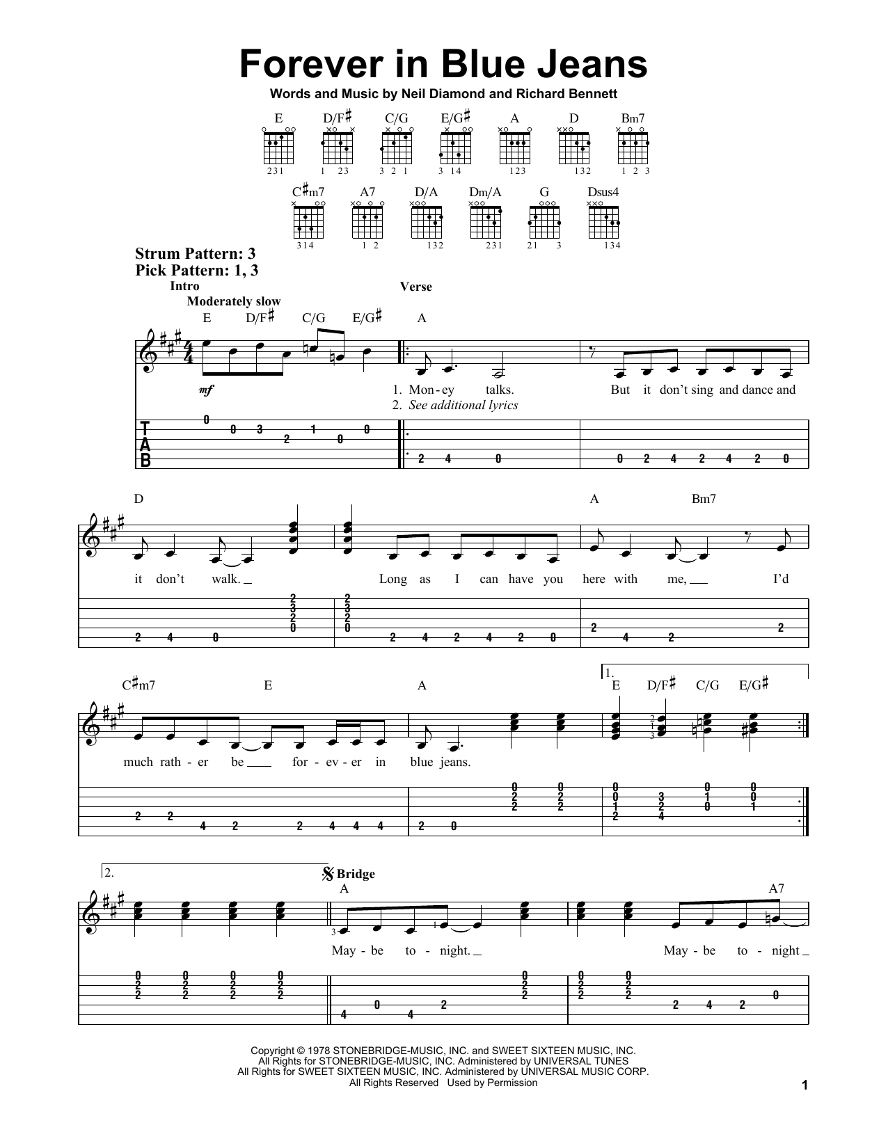 Forever In Blue Jeans By Neil Diamond Easy Guitar Tab Guitar