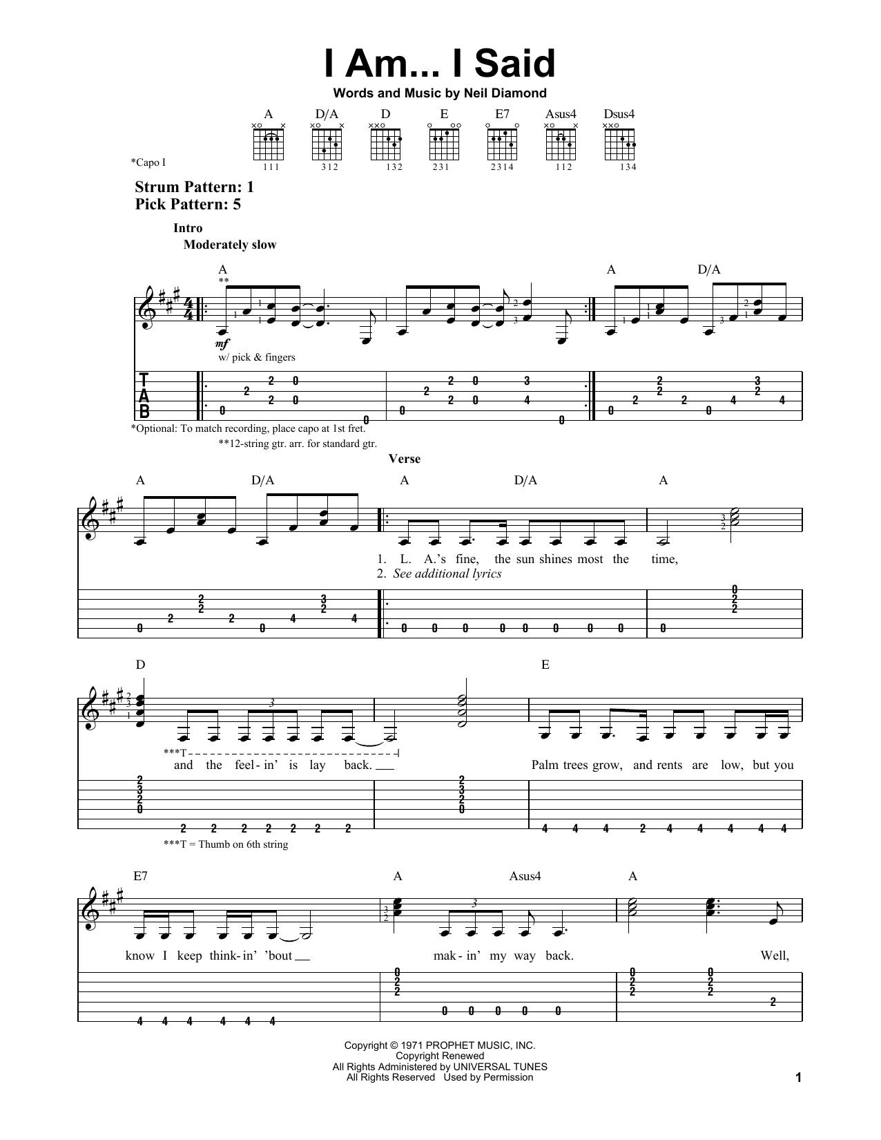 I Am...I Said (Easy Guitar Tab)
