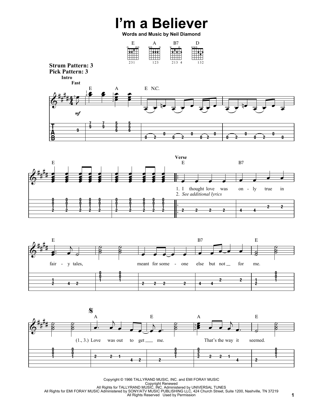I'm A Believer (Easy Guitar Tab)