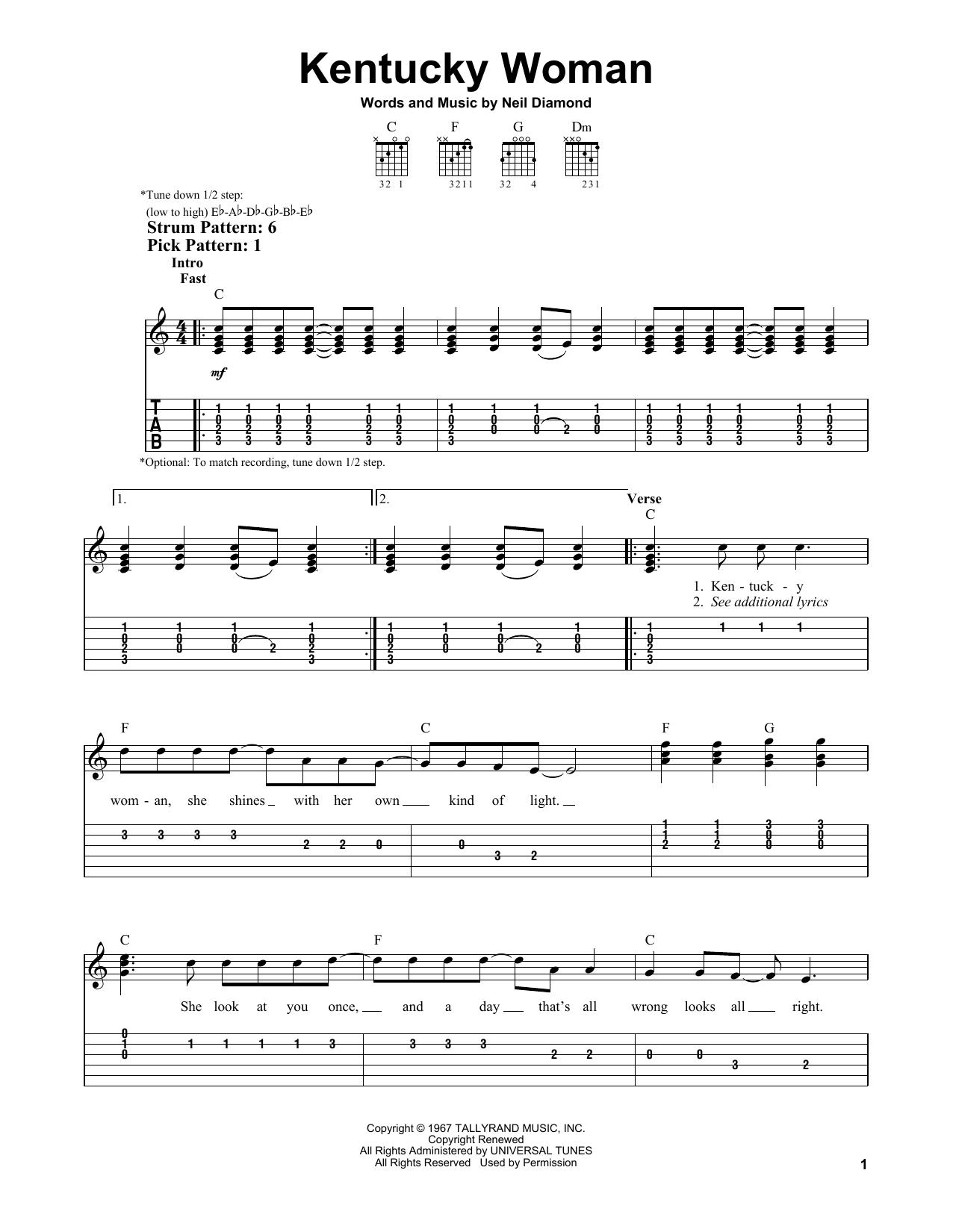 Kentucky Woman (Easy Guitar Tab)