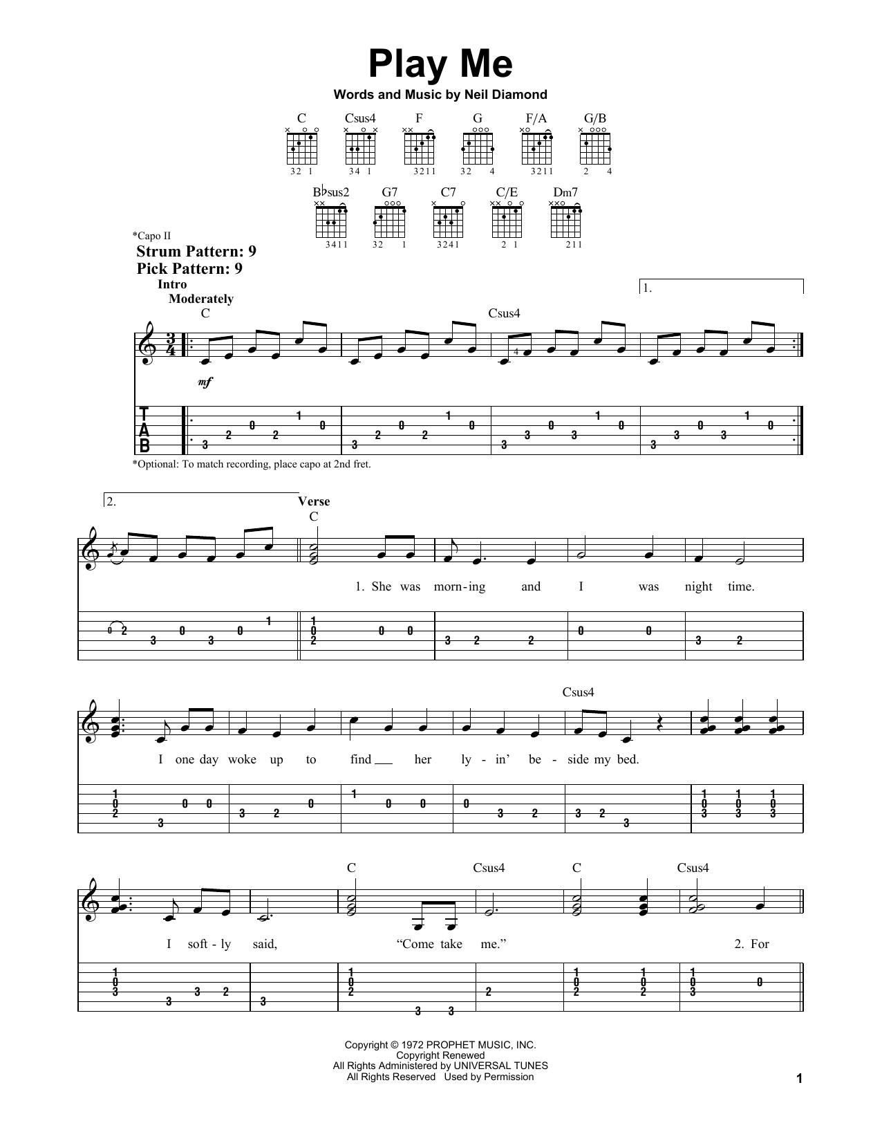 Play Me (Easy Guitar Tab)