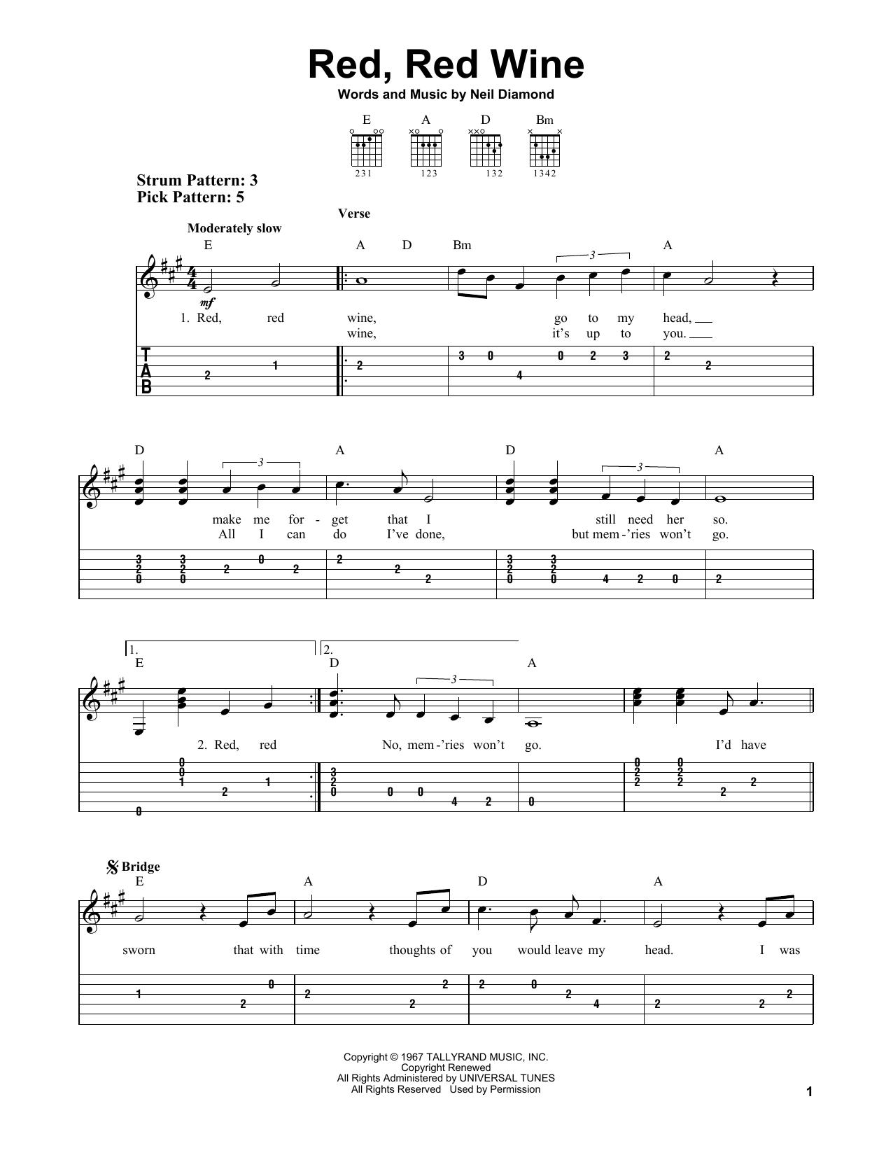 Red, Red Wine Sheet Music   Neil Diamond   Easy Guitar Tab