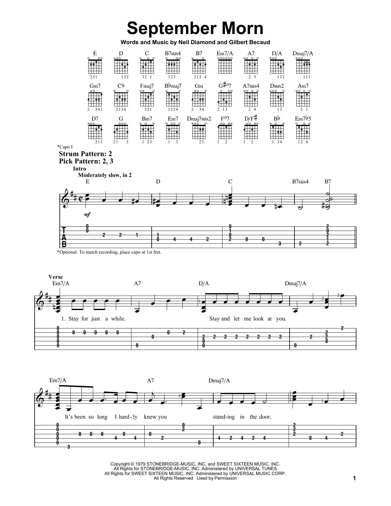 September Morn (Easy Guitar Tab)