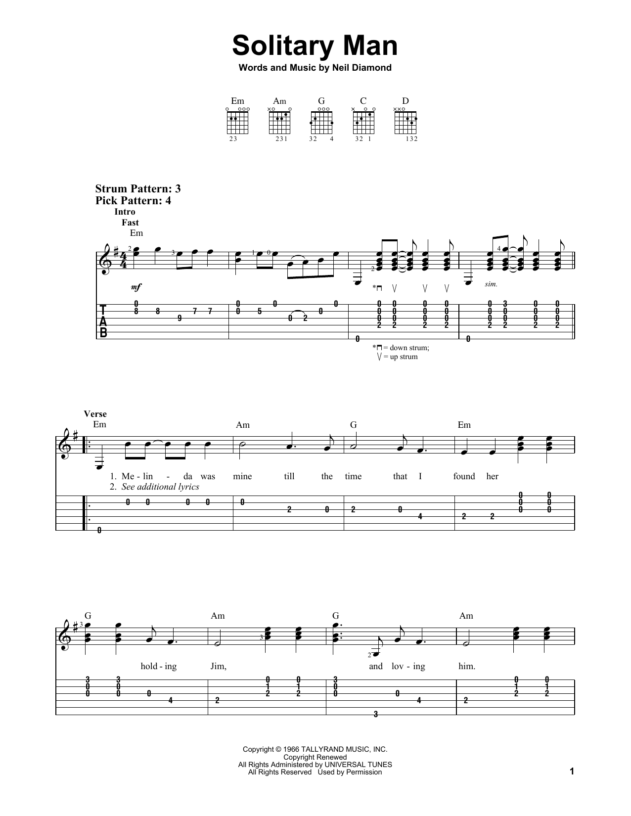 Solitary Man By Neil Diamond Easy Guitar Tab Guitar Instructor