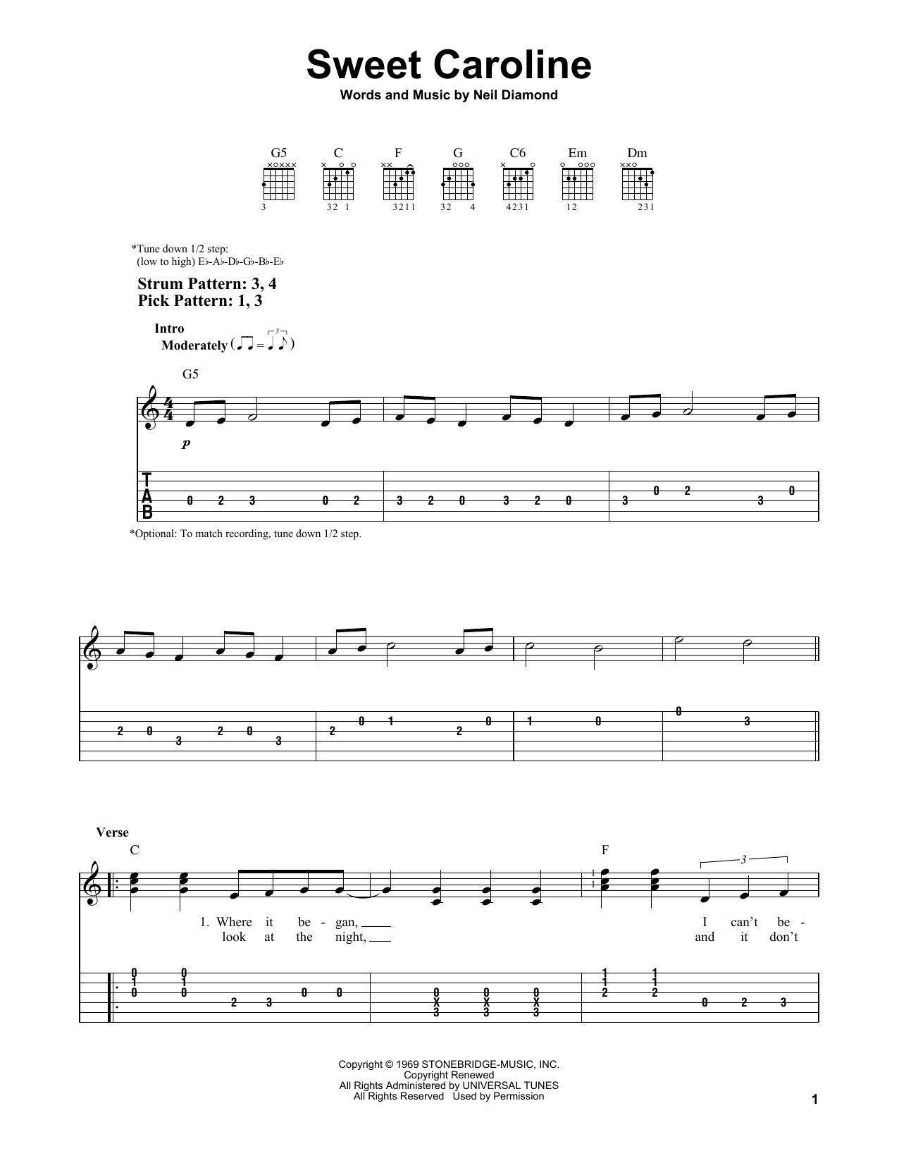 Sweet Caroline (Easy Guitar Tab)