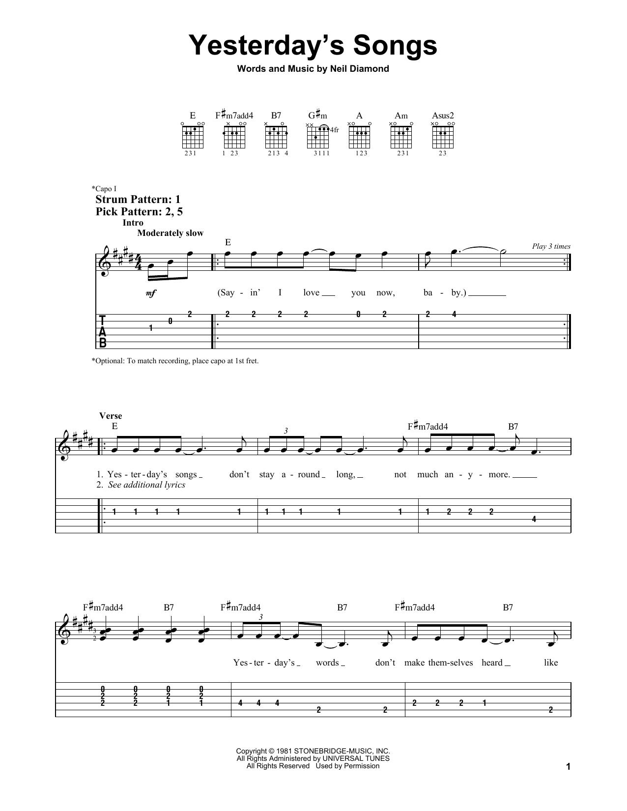 Yesterday's Songs (Easy Guitar Tab)