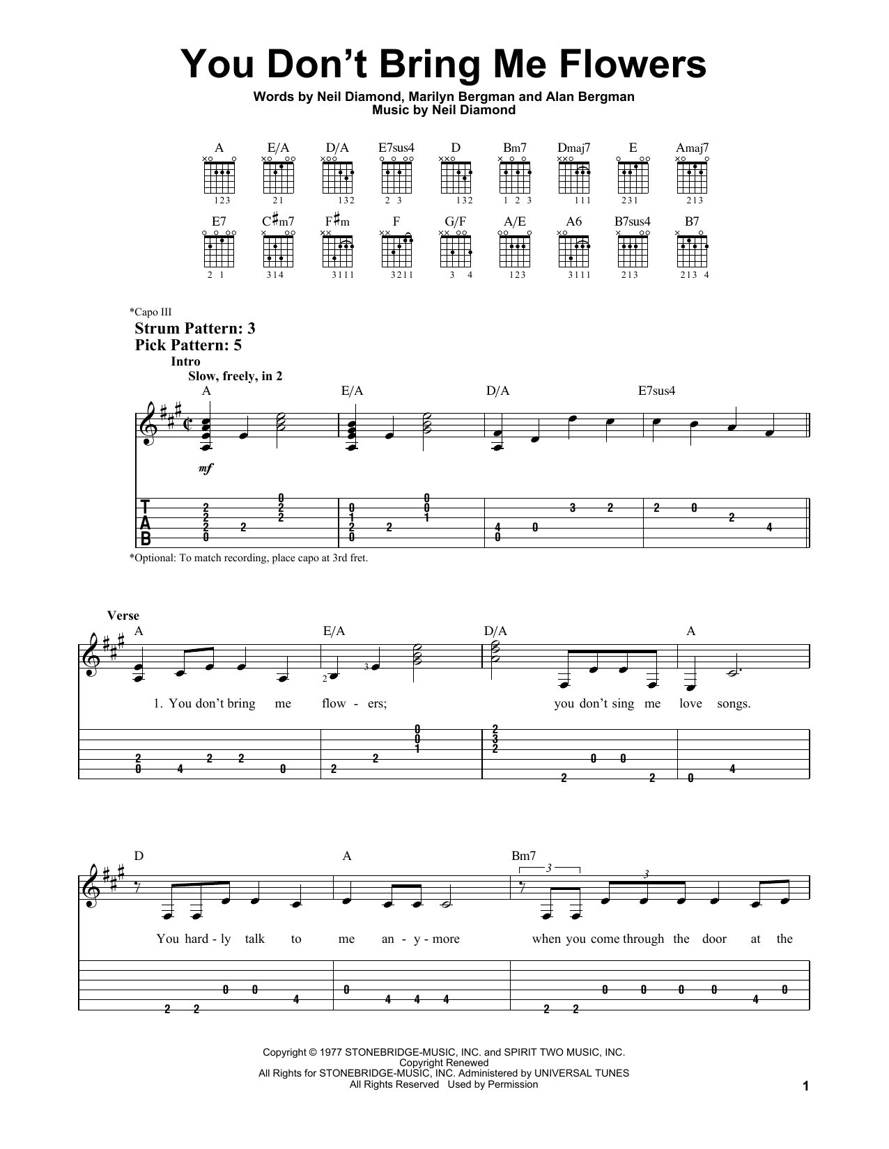 You Don't Bring Me Flowers (Easy Guitar Tab)