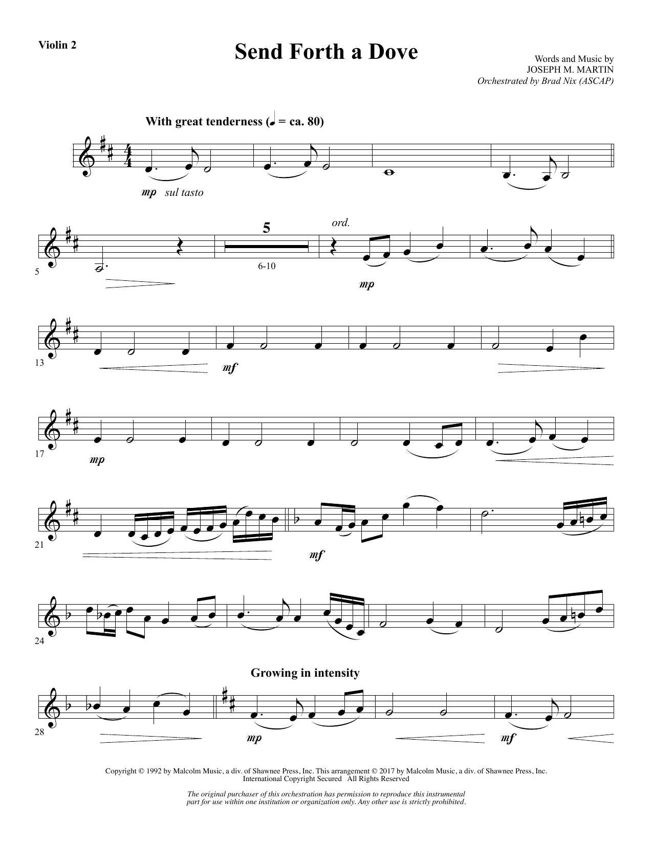 Send Forth a Dove - Violin 2 (Choir Instrumental Pak)