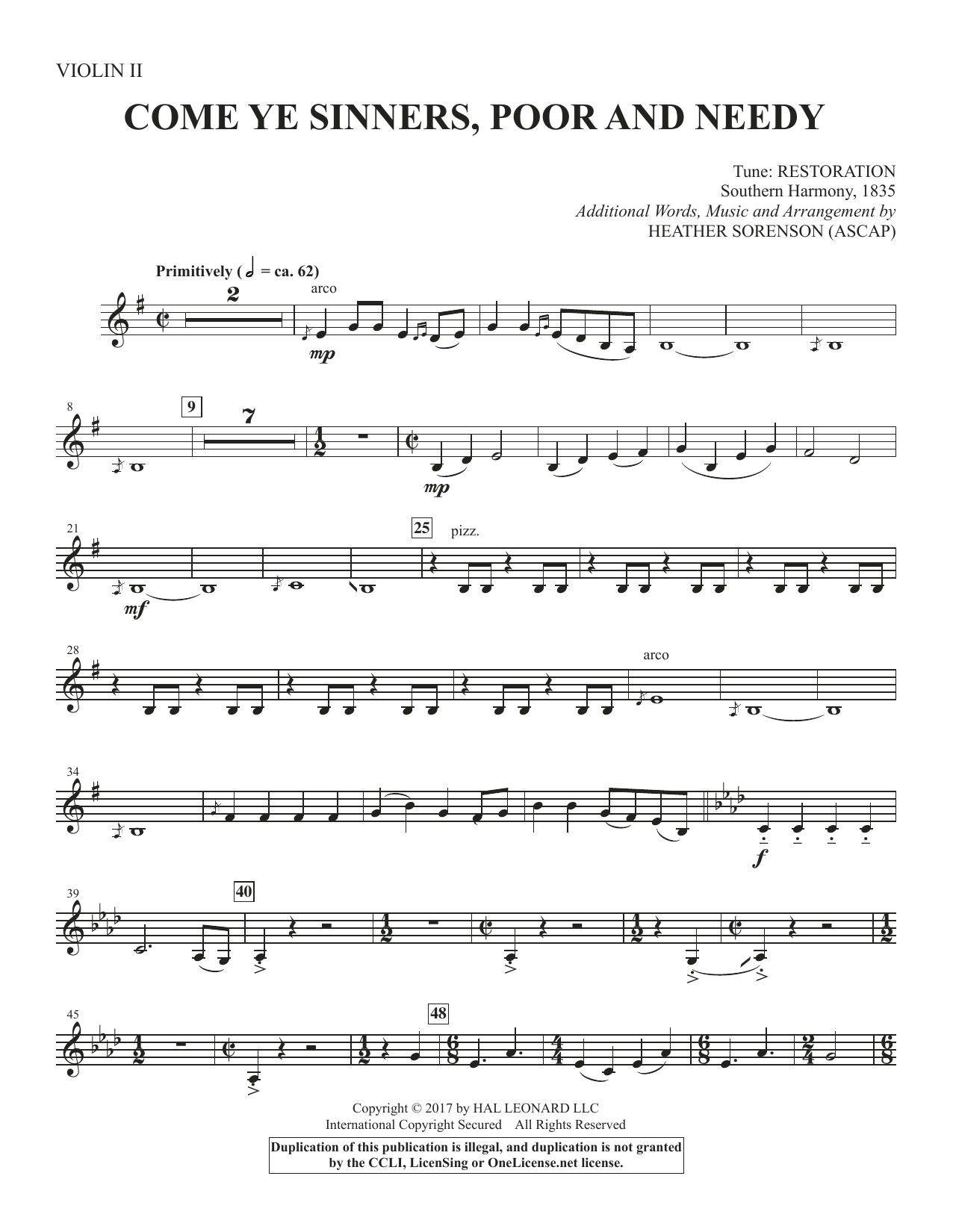 Come, Ye Sinners, Poor and Needy - Violin 2 (Choir Instrumental Pak)