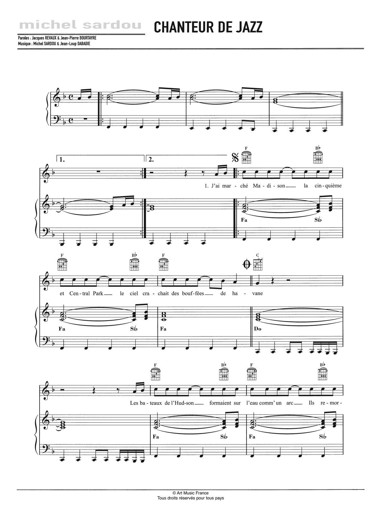Chanteur De Jazz Sheet Music