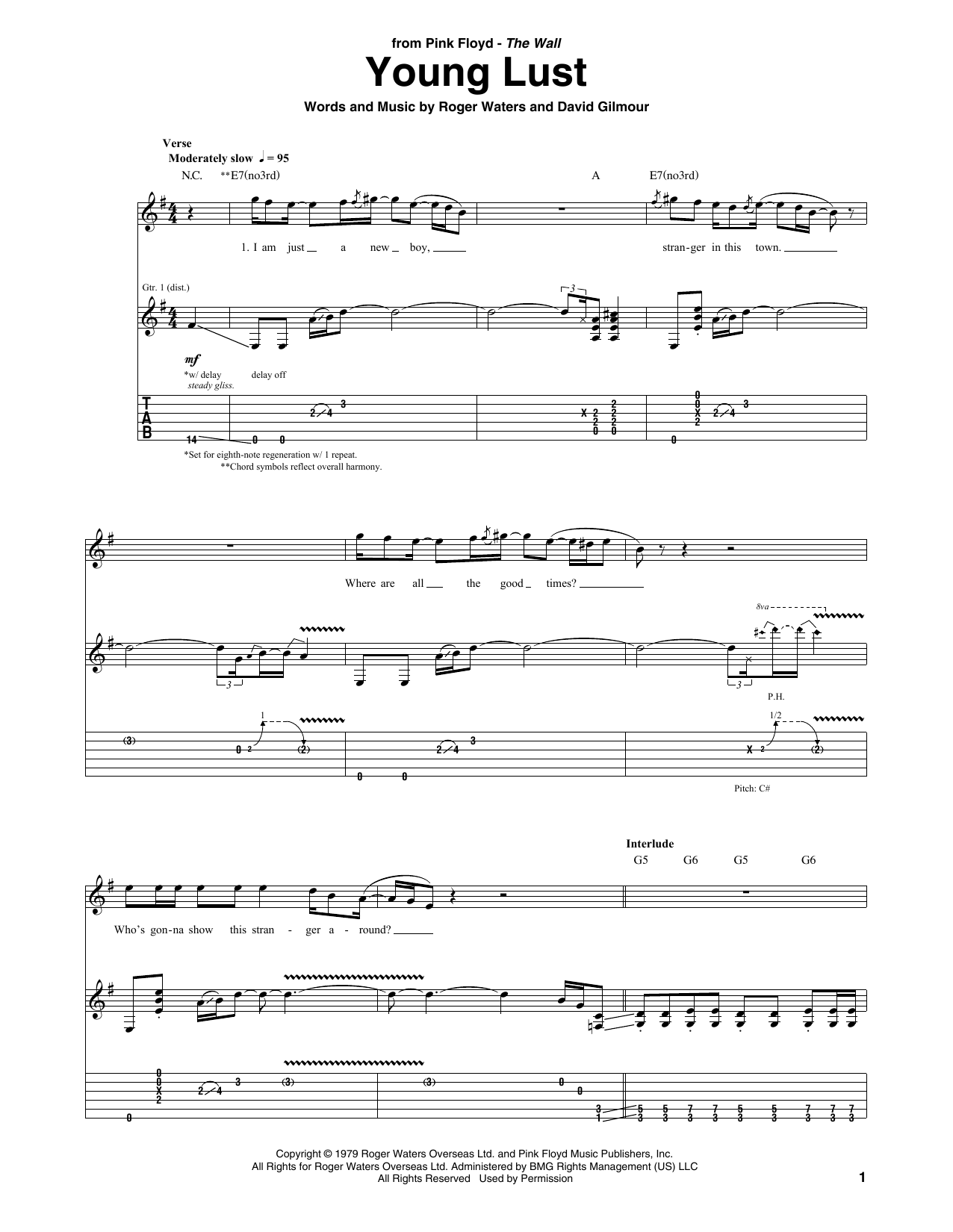 Young Lust Sheet Music
