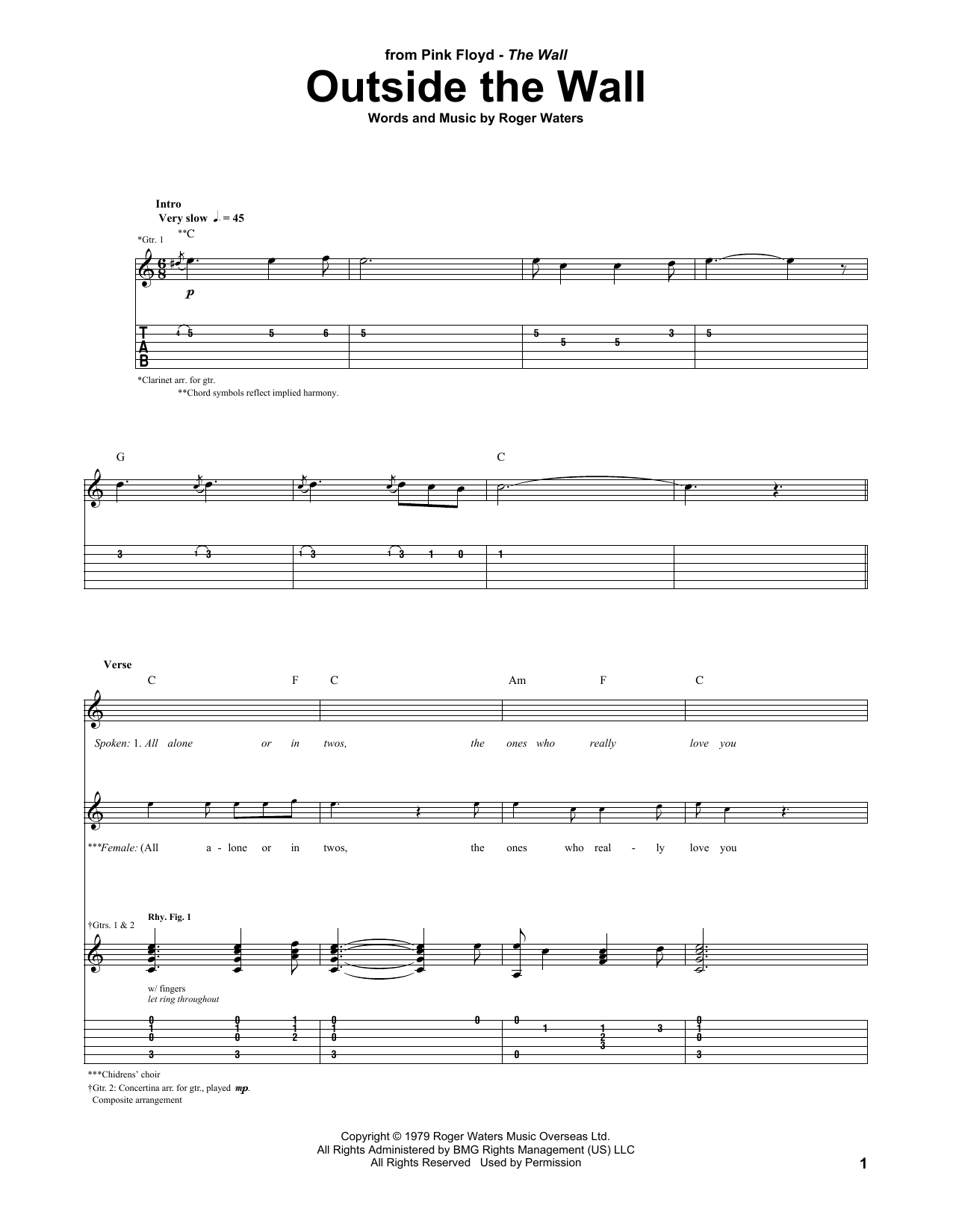 Outside The Wall Pink Floyd Guitar Tab
