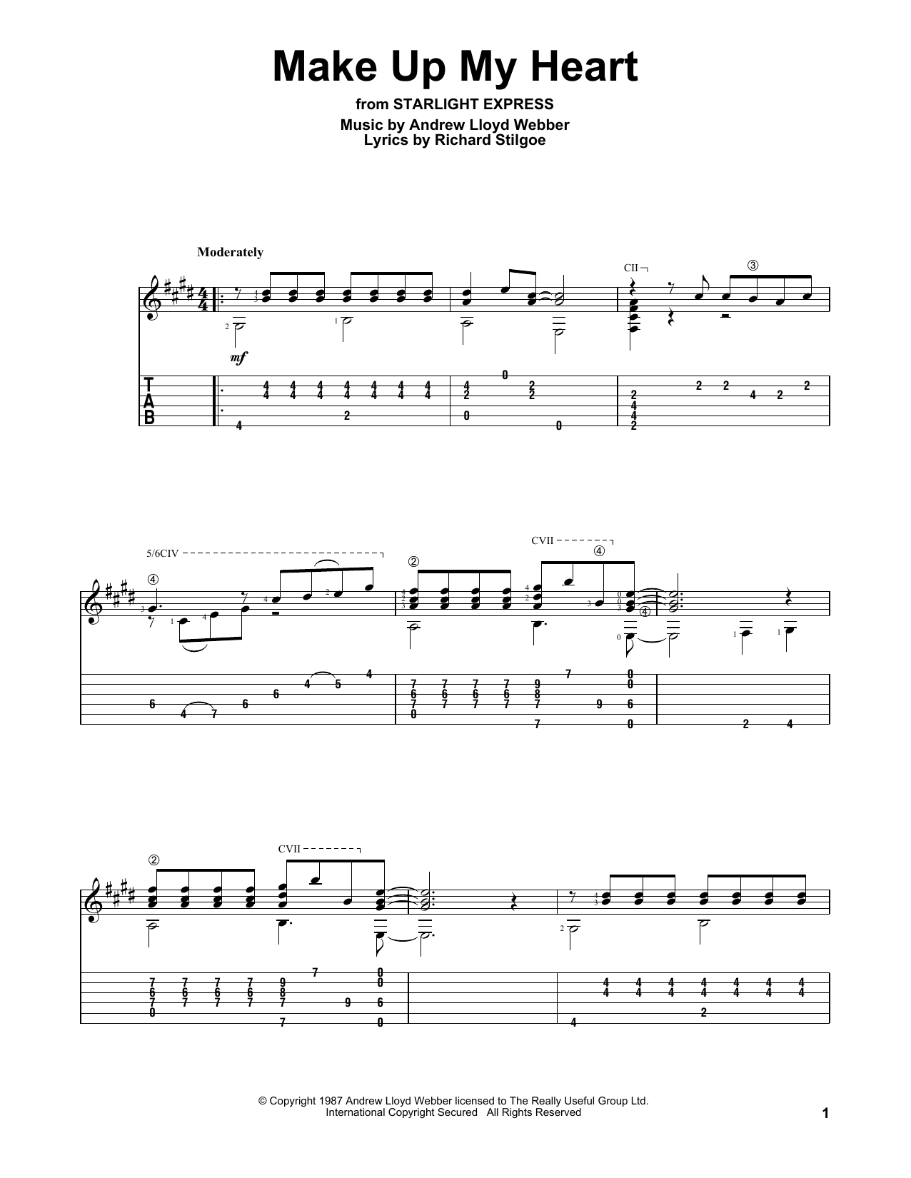 Make Up My Heart (Solo Guitar Tab)