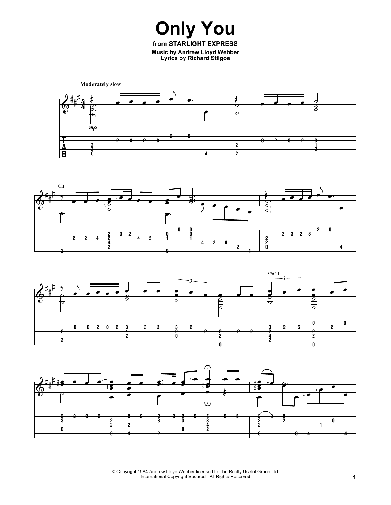 Only You (Solo Guitar Tab)