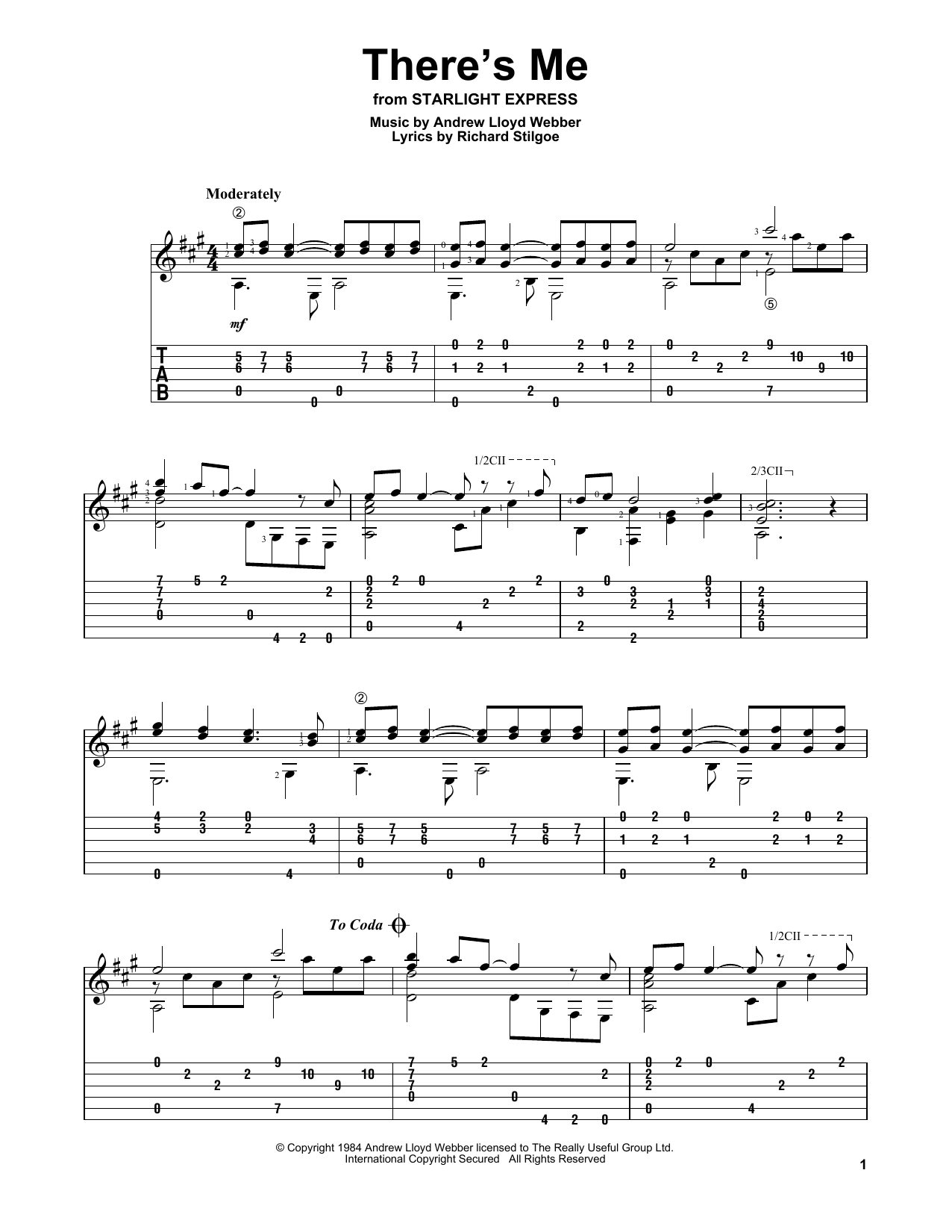 There's Me (Solo Guitar Tab)