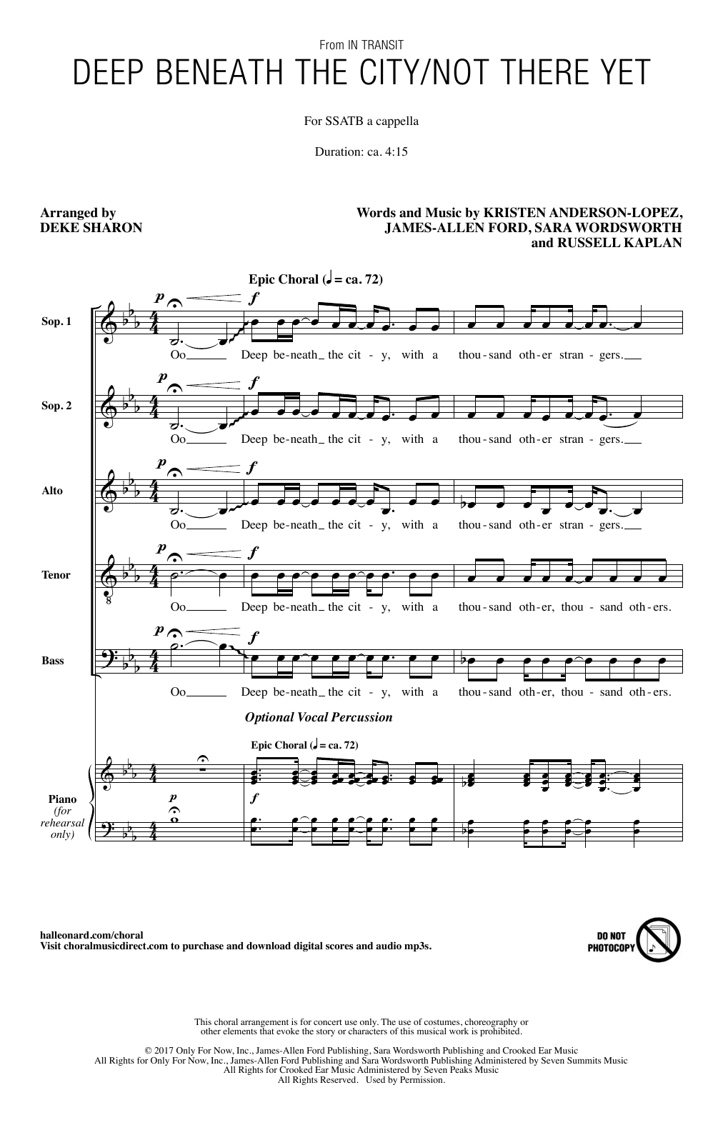 Deep Beneath The City/Not There Yet Sheet Music