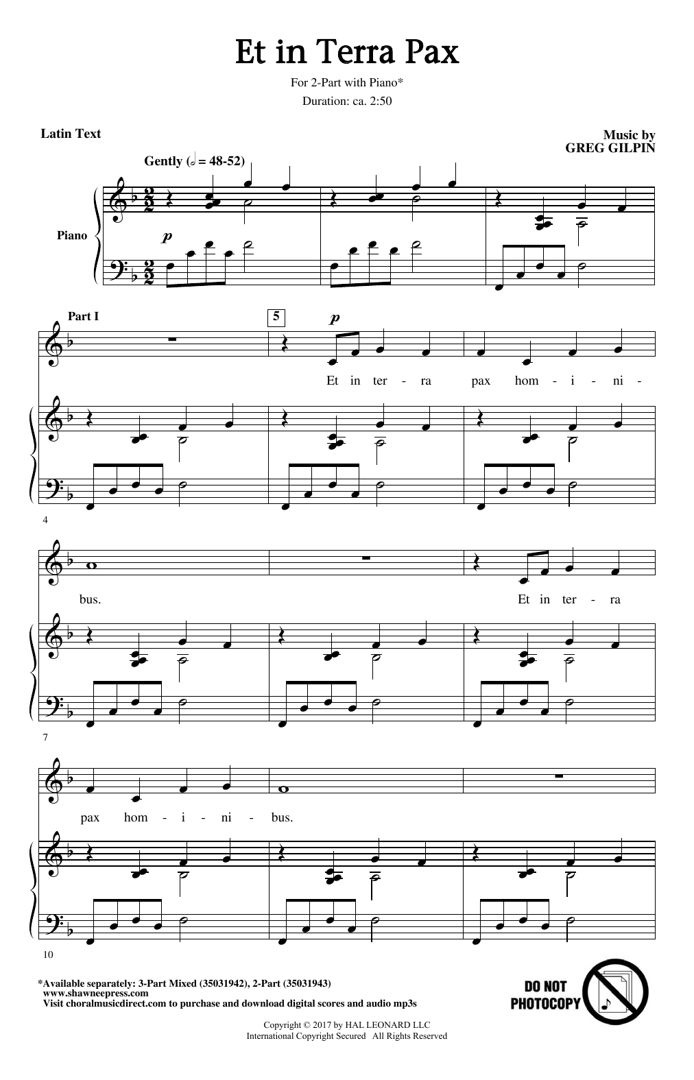 Et In Terra Pax Sheet Music