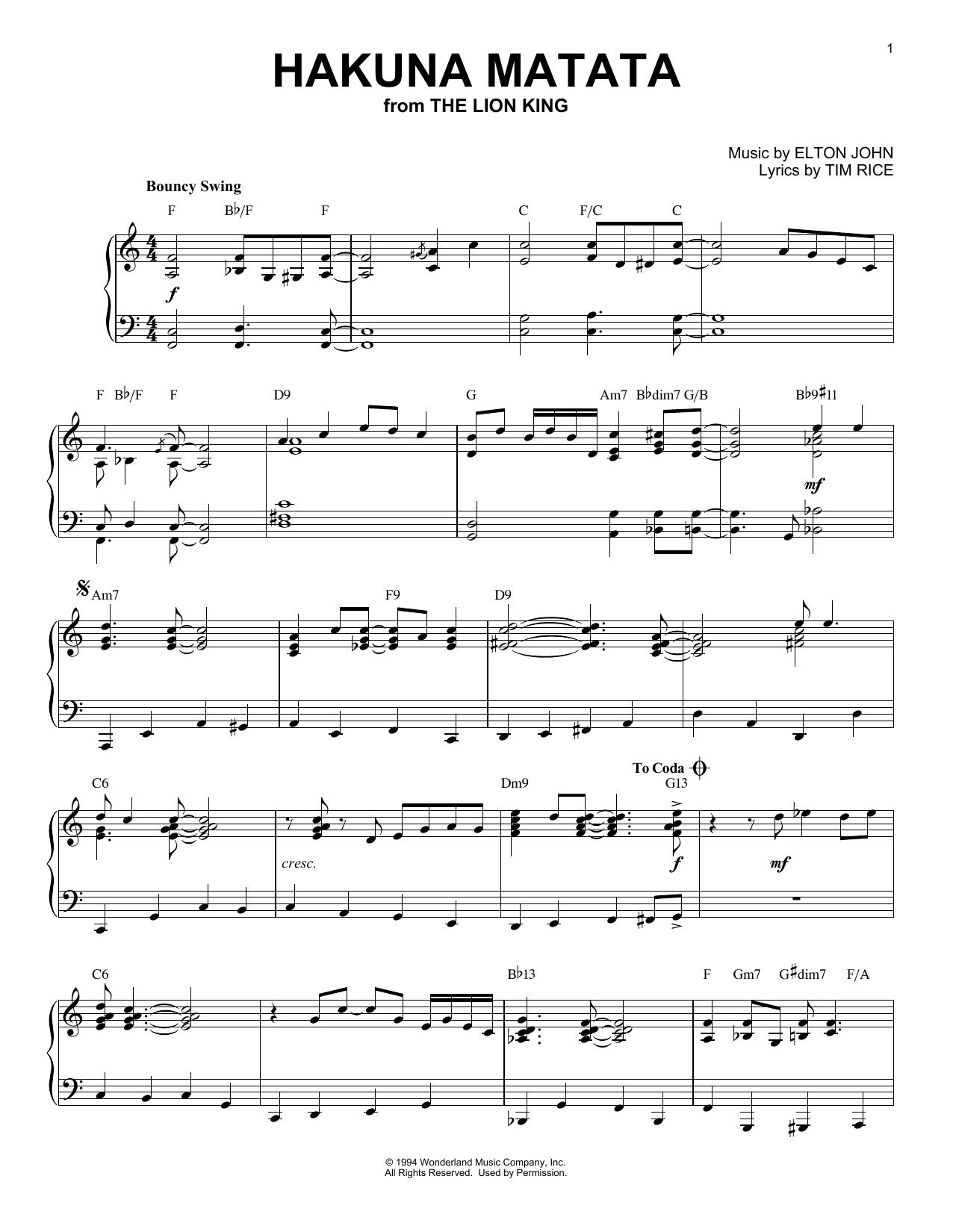 Hakuna Matata (from The Lion King) (Piano Solo)