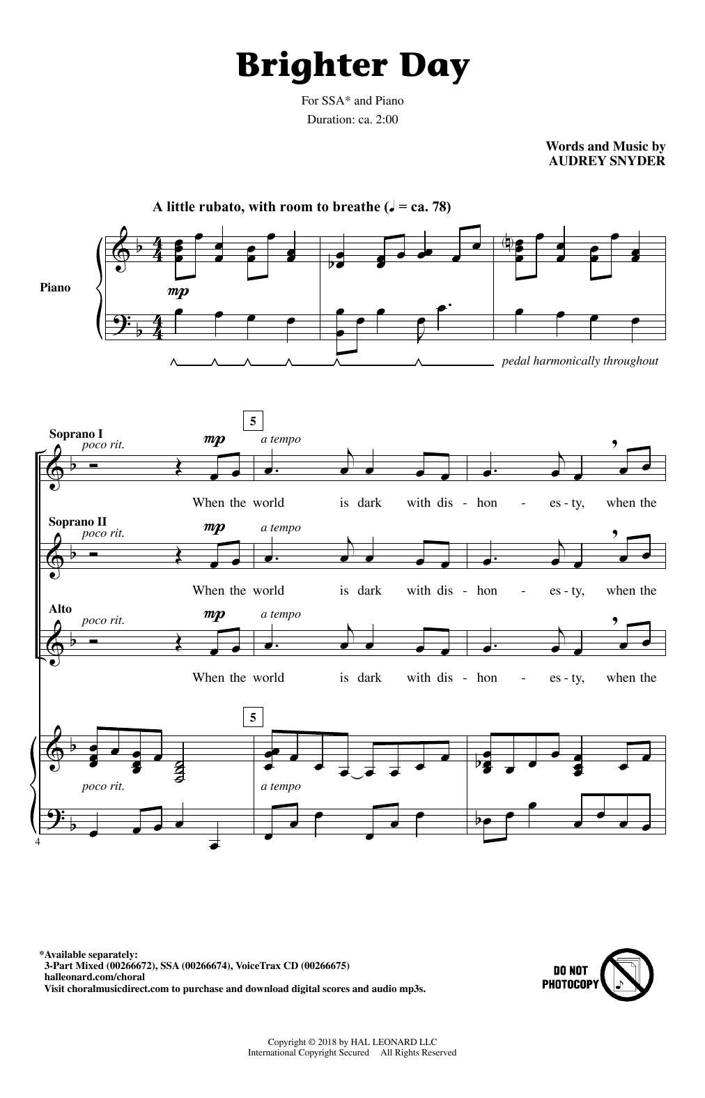 Brighter Day Sheet Music