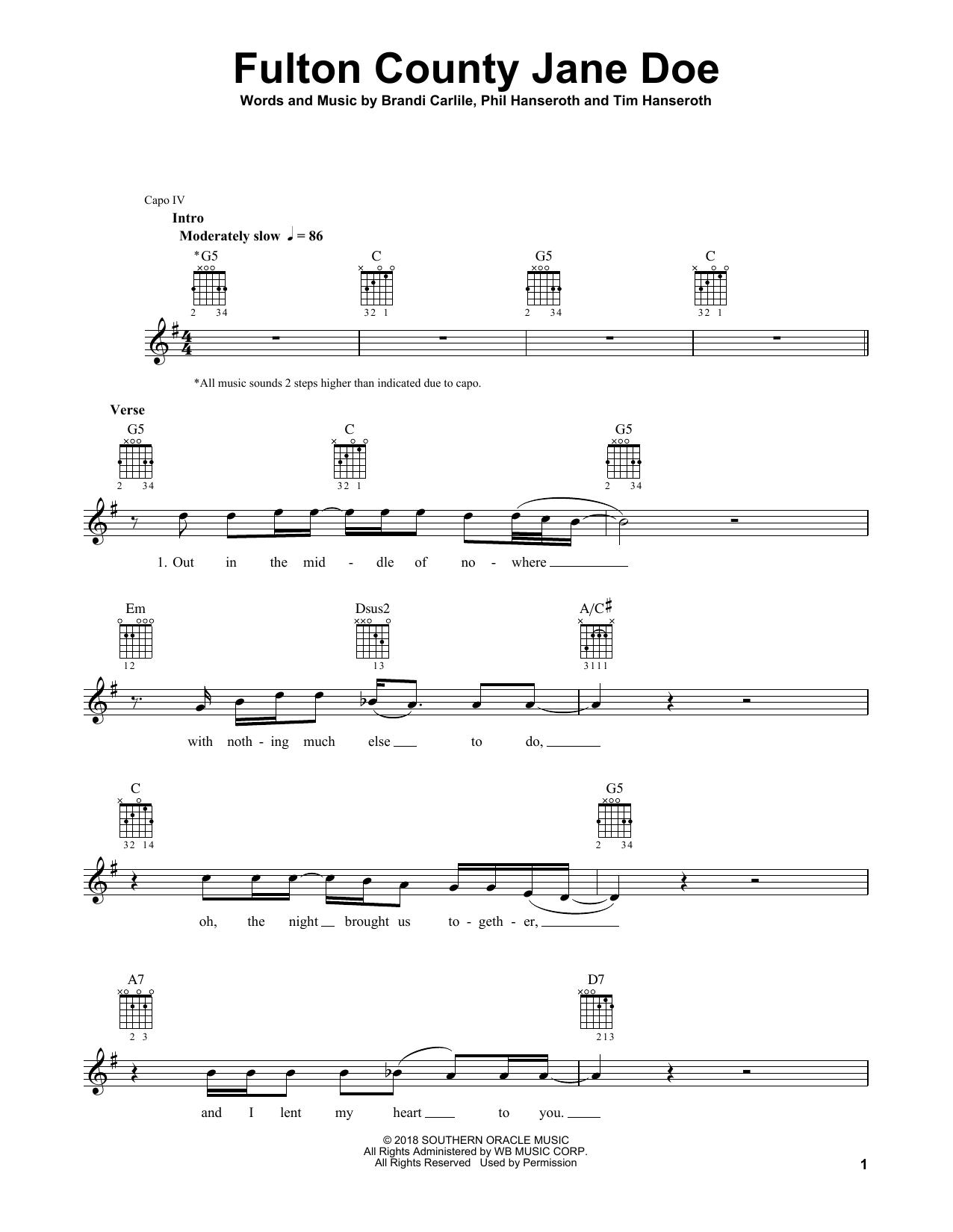 Fulton County Jane Doe Sheet Music