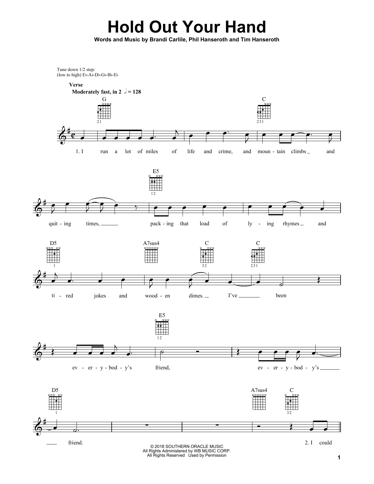 Hold Out Your Hand Sheet Music