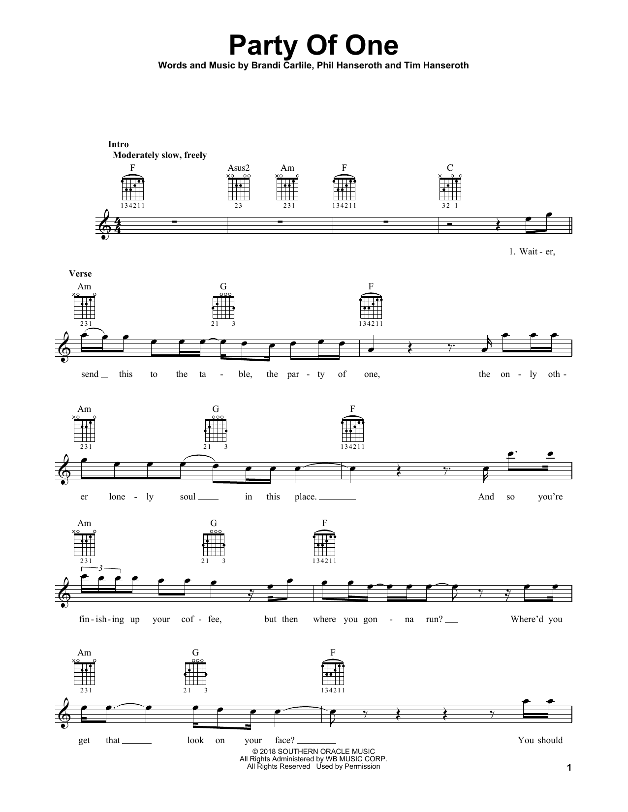 Party Of One Sheet Music