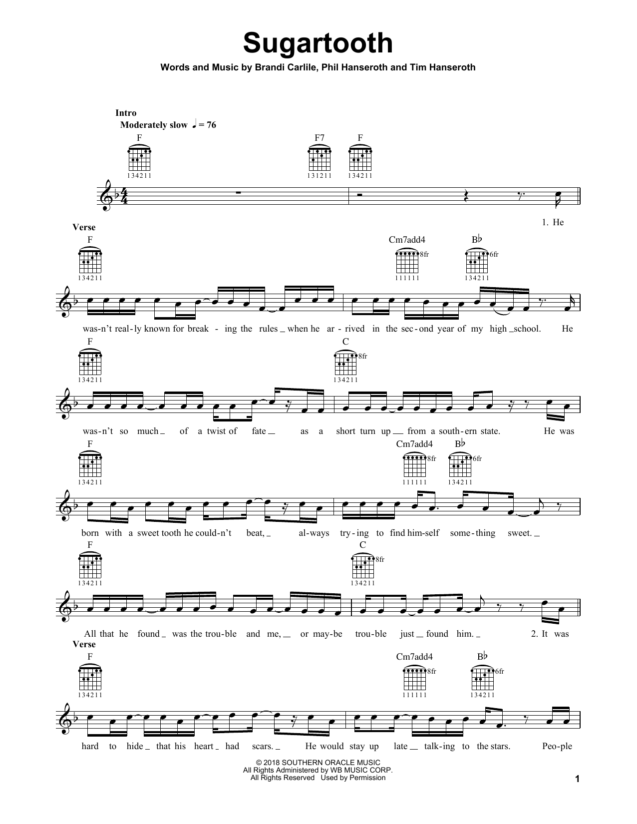 Sugartooth Sheet Music