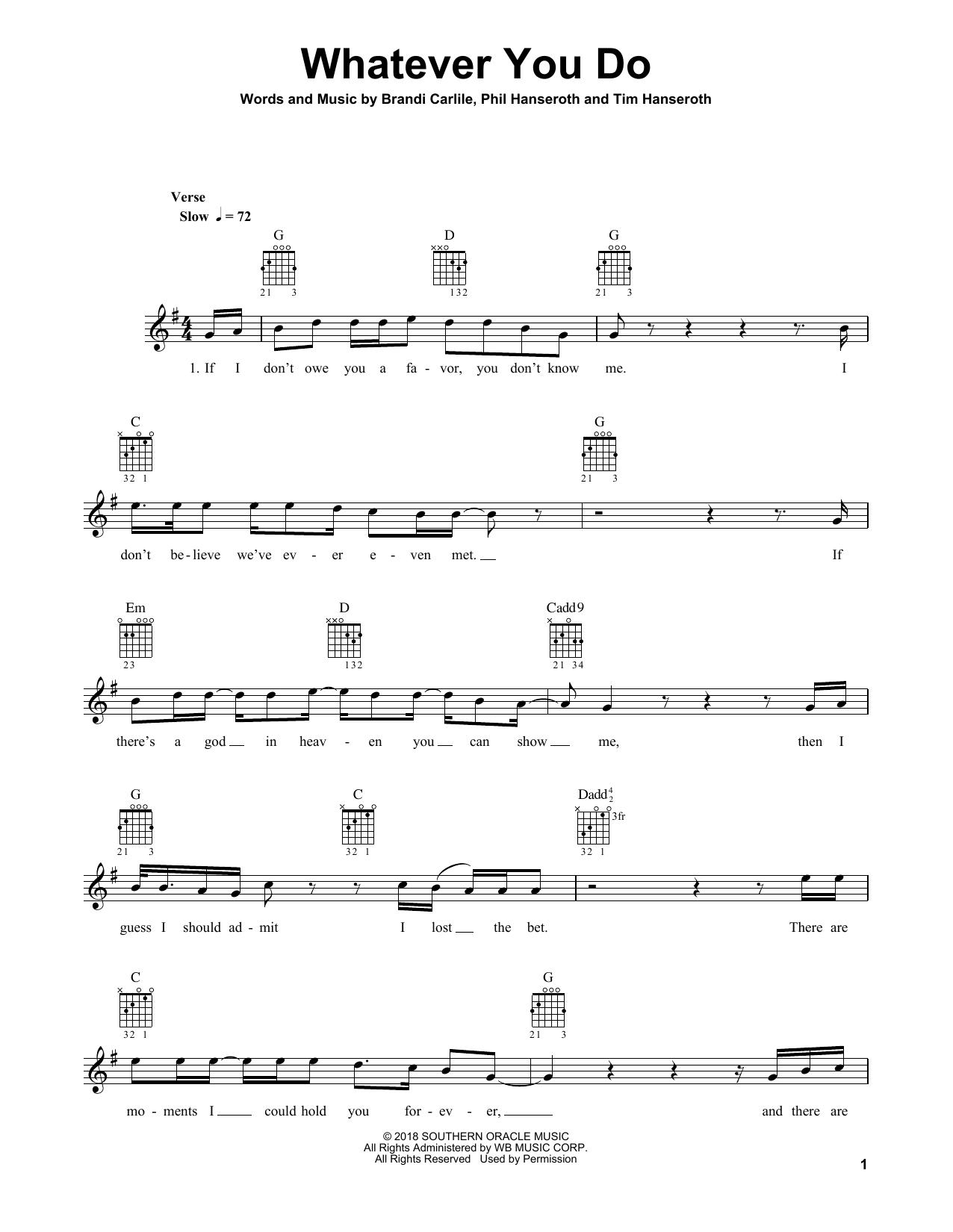 Whatever You Do Sheet Music Brandi Carlile Guitar Tab