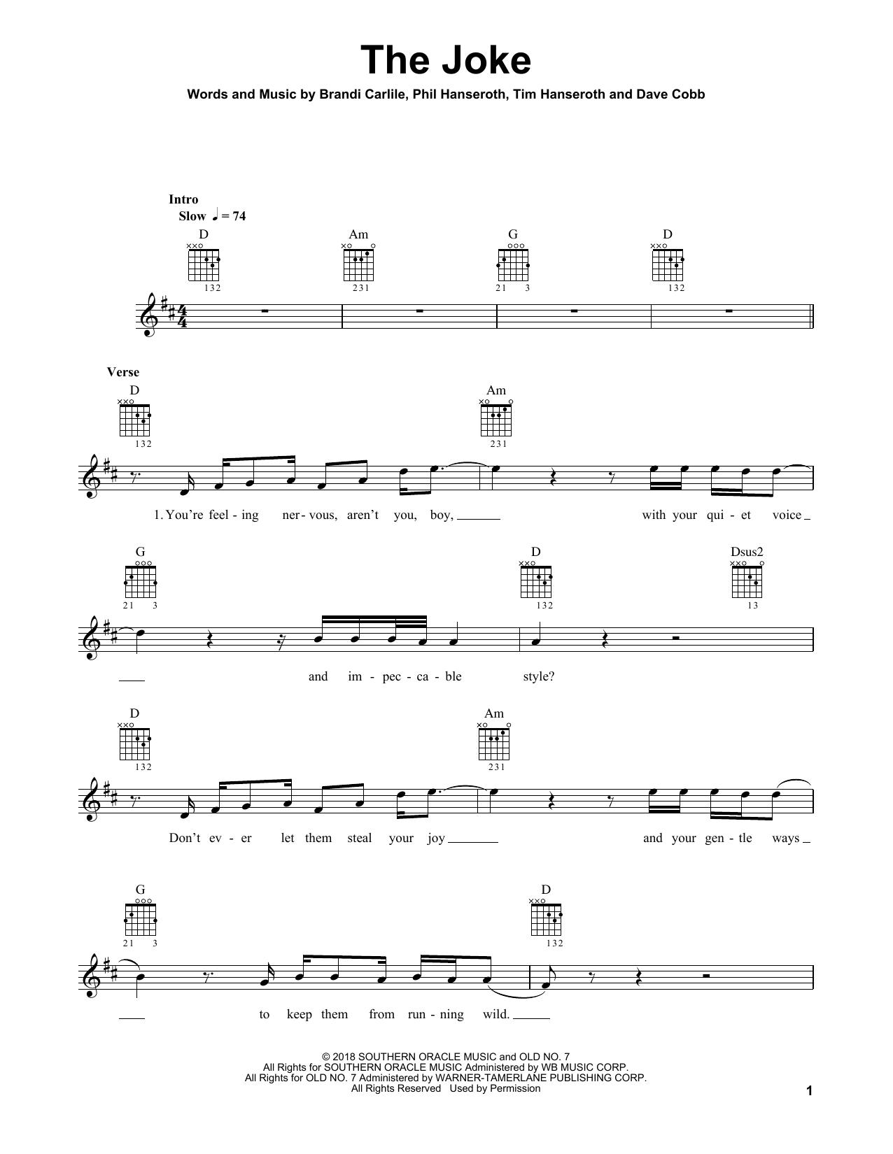 The Joke Sheet Music Brandi Carlile Guitar Tab