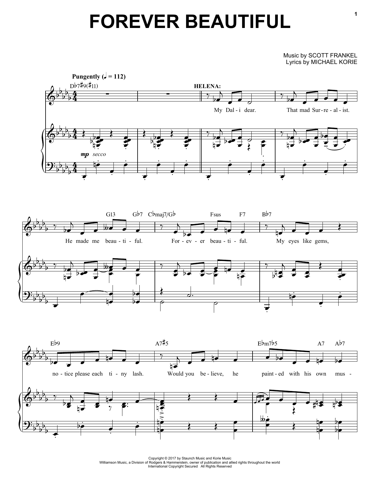Partition piano Forever Beautiful de Scott Frankel & Michael Korie - Piano Voix