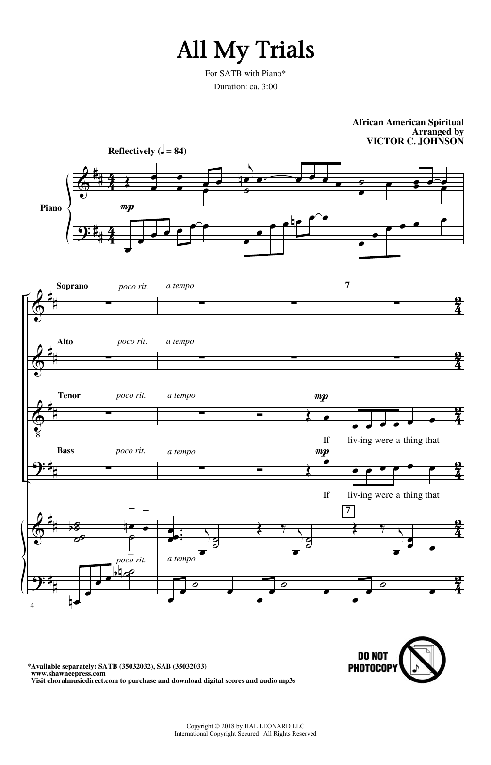 Partition chorale All My Trials de Victor Johnson - SATB