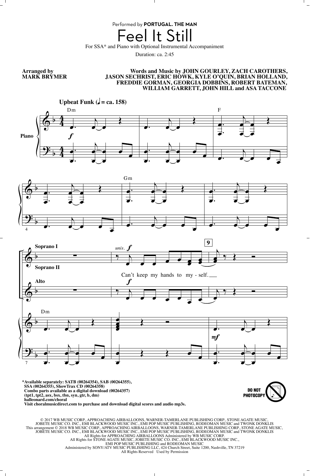 Feel It Still (arr. Mark Brymer) Sheet Music