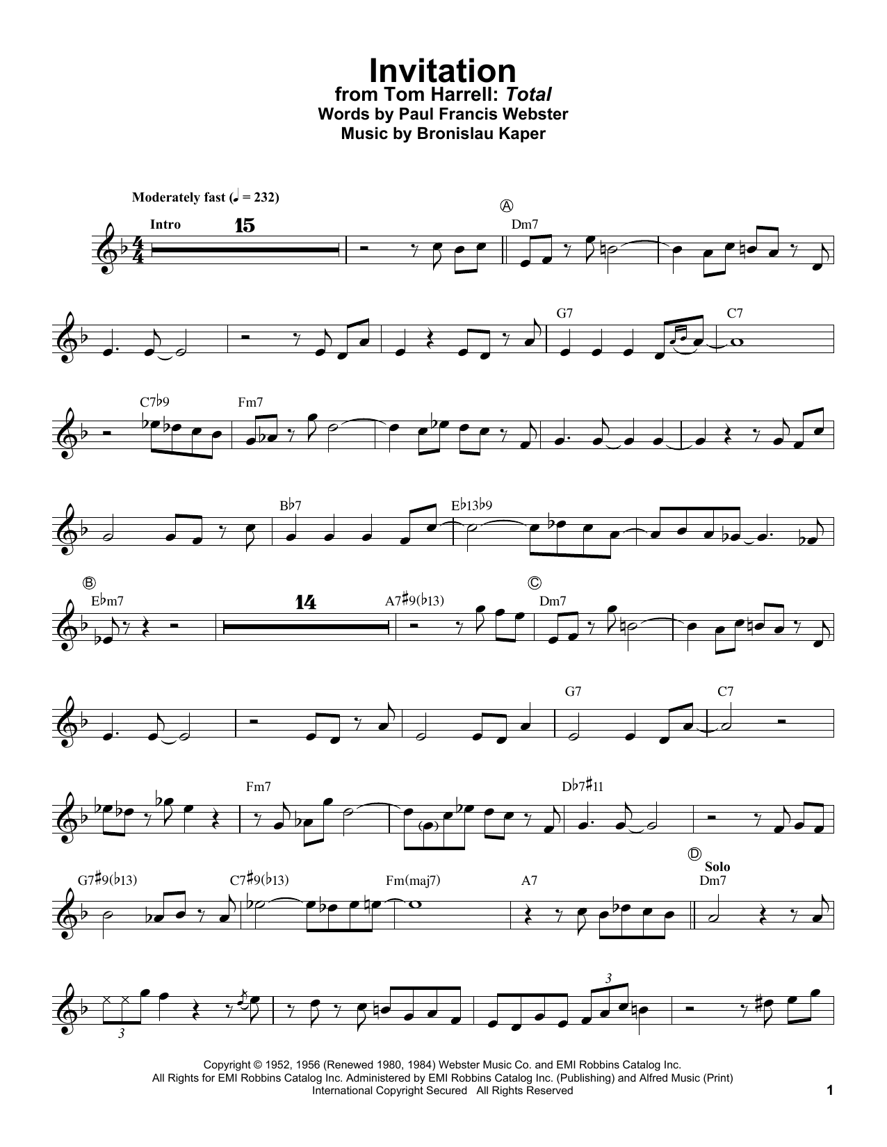 Invitation (Trumpet Transcription)