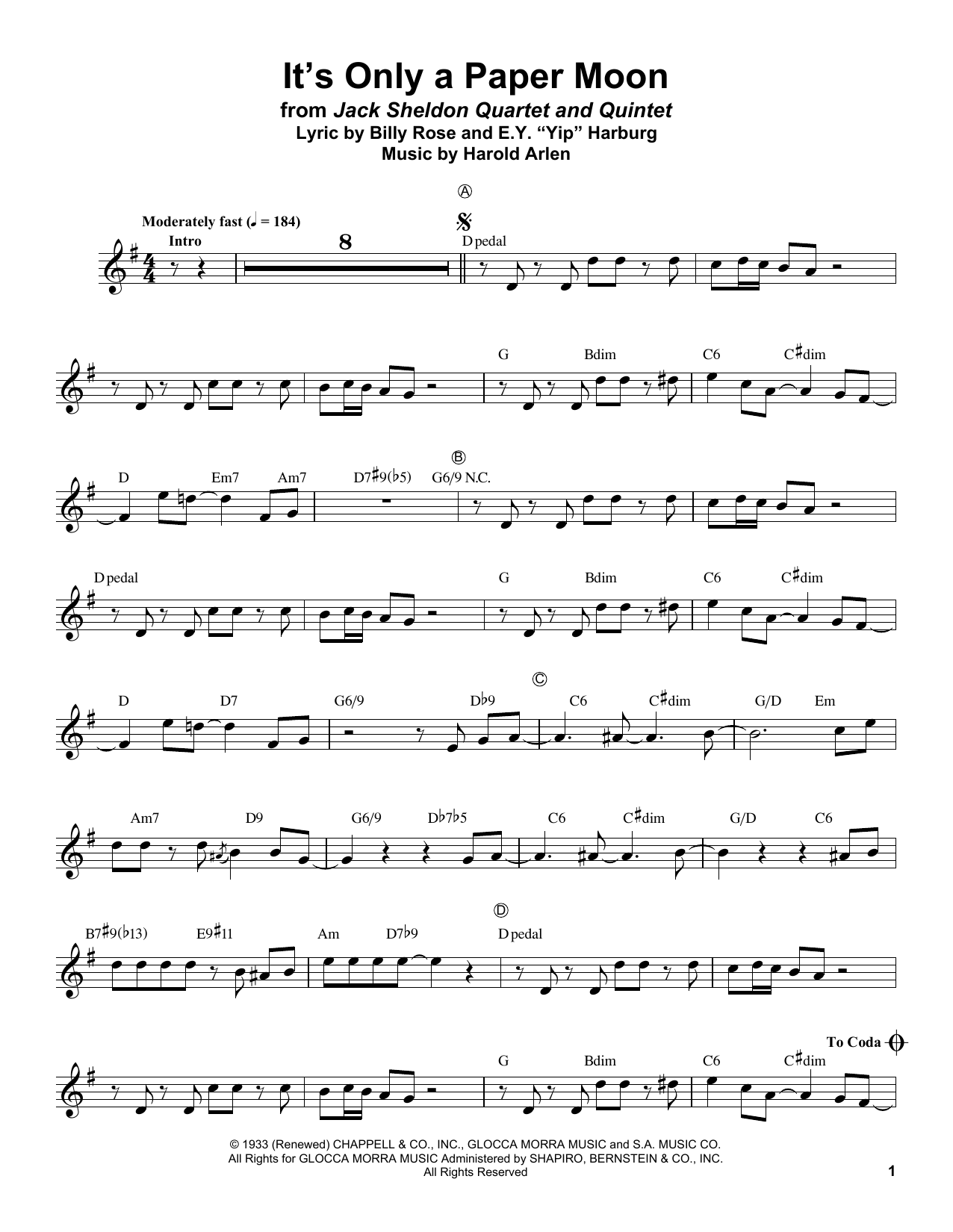 It's Only A Paper Moon (Trumpet Transcription)