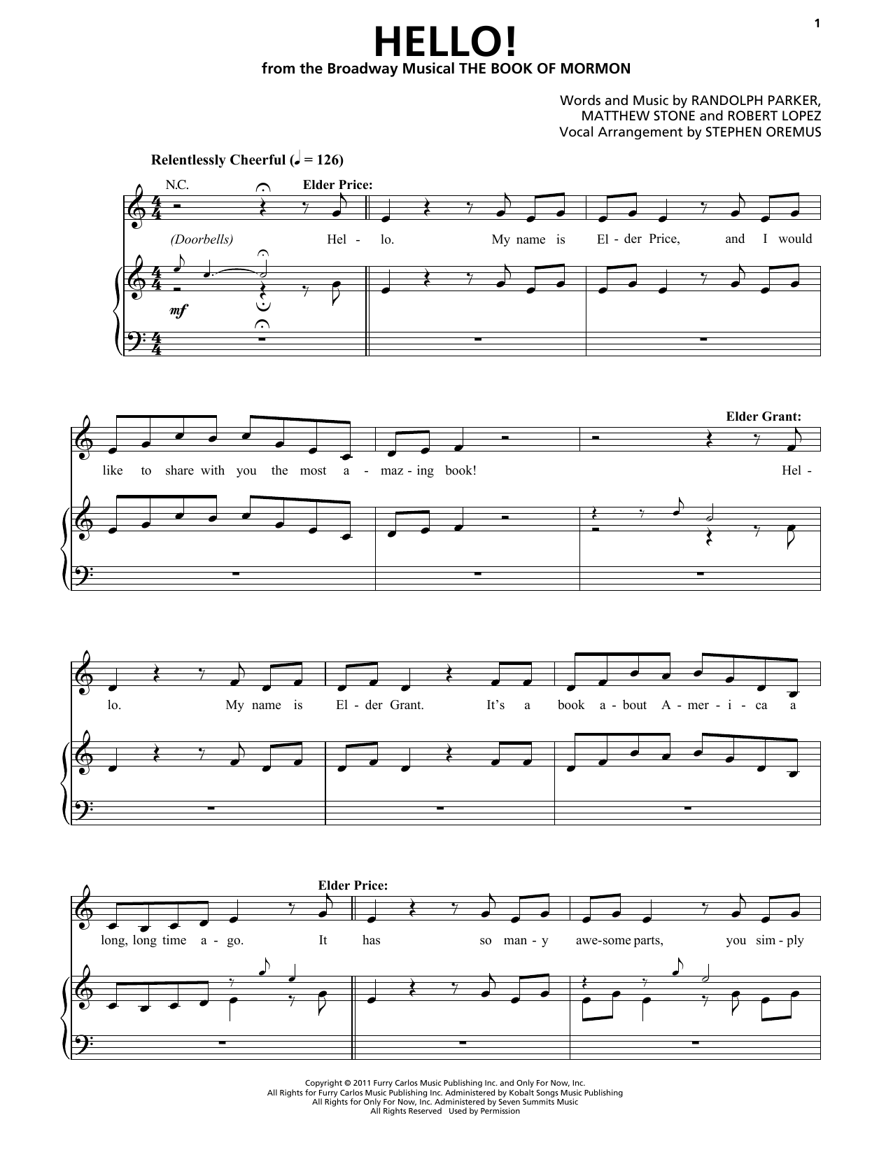 Hello! (from The Book of Mormon) Sheet Music