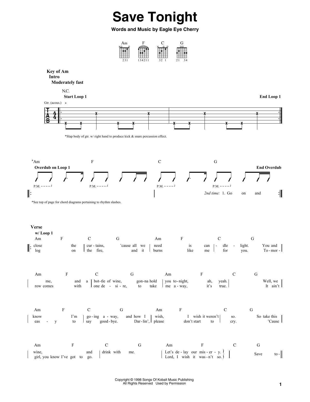 Save Tonight By Eagle Eye Cherry Guitar Lead Sheet Guitar Instructor