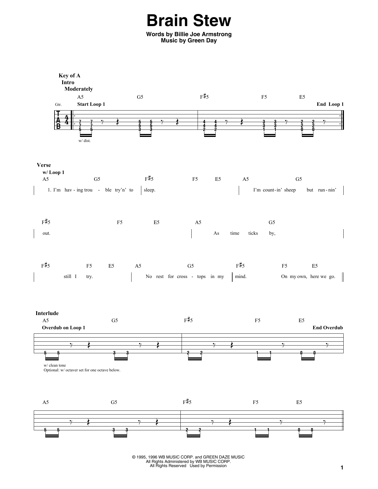 Brain Stew Sheet Music