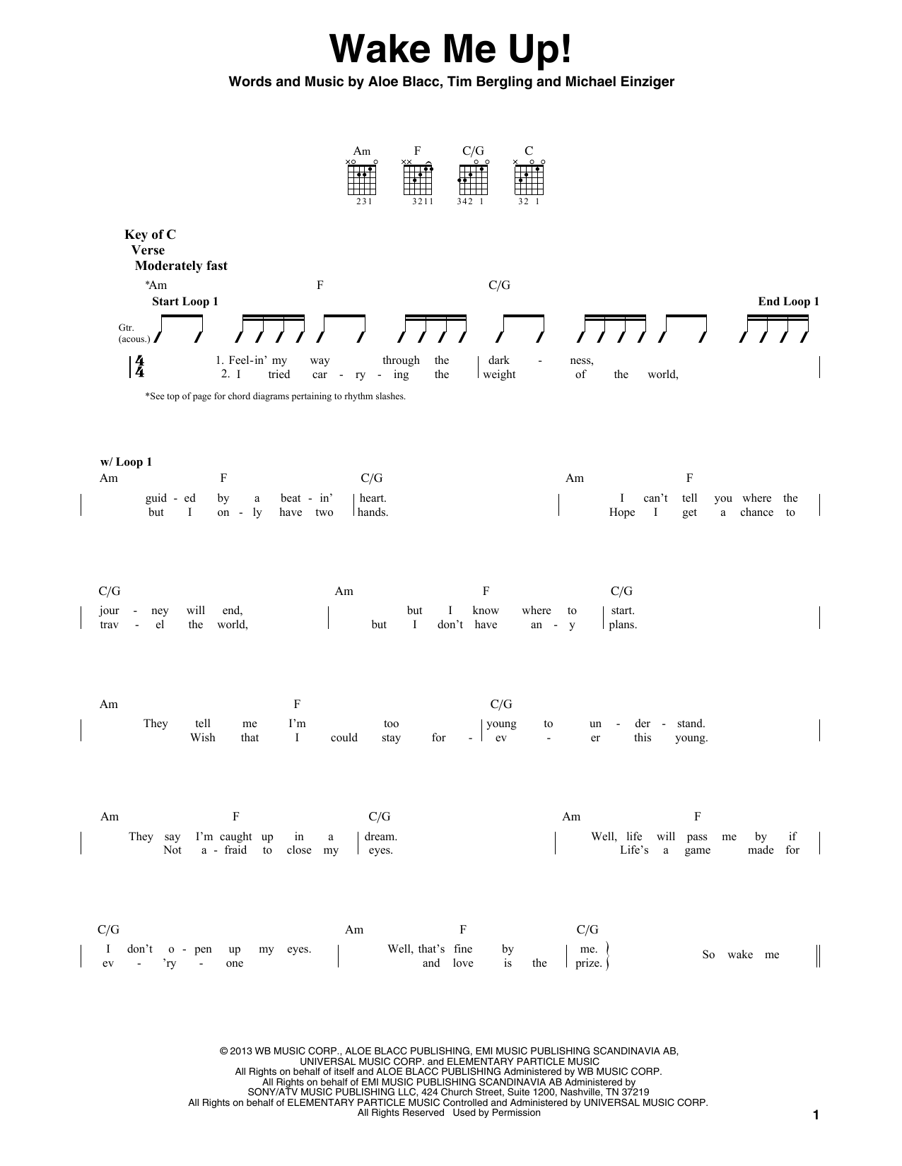 Wake Me Up Sheet Music Avicii Guitar Lead Sheet