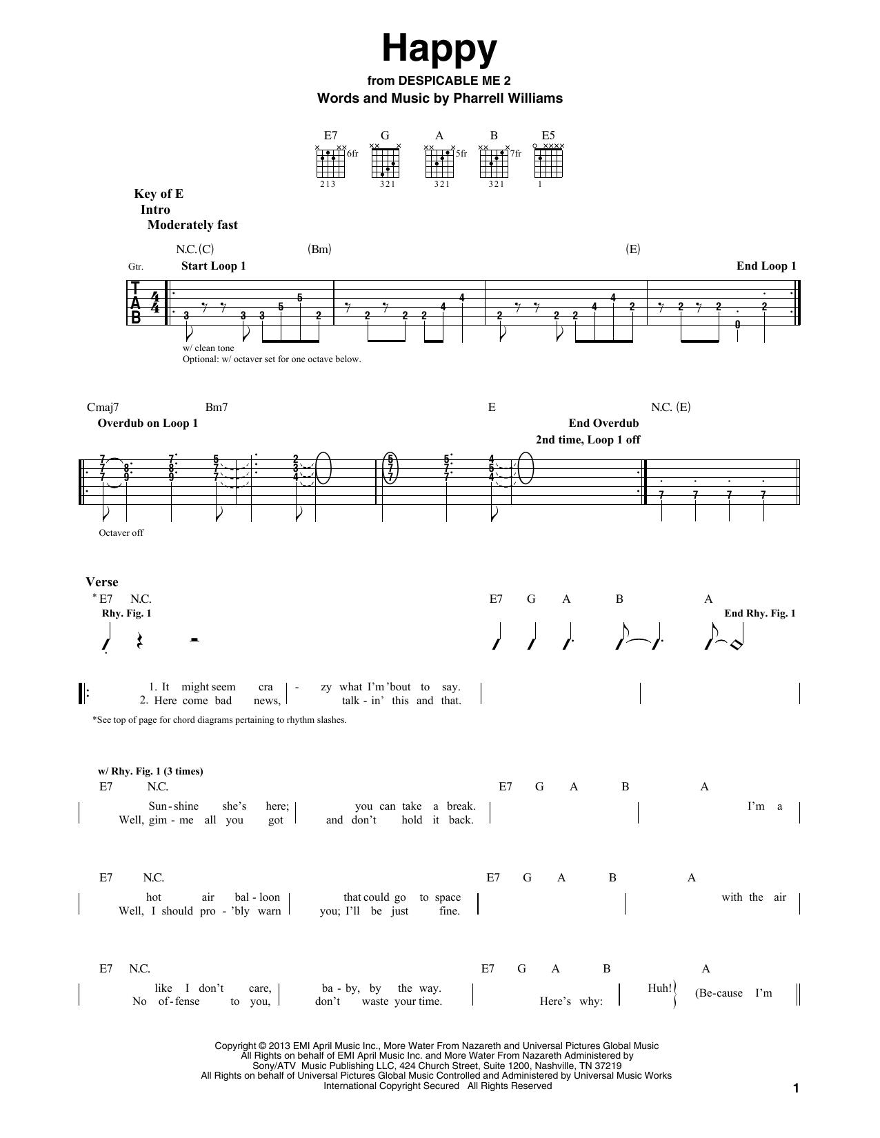 Happy (Guitar Lead Sheet)